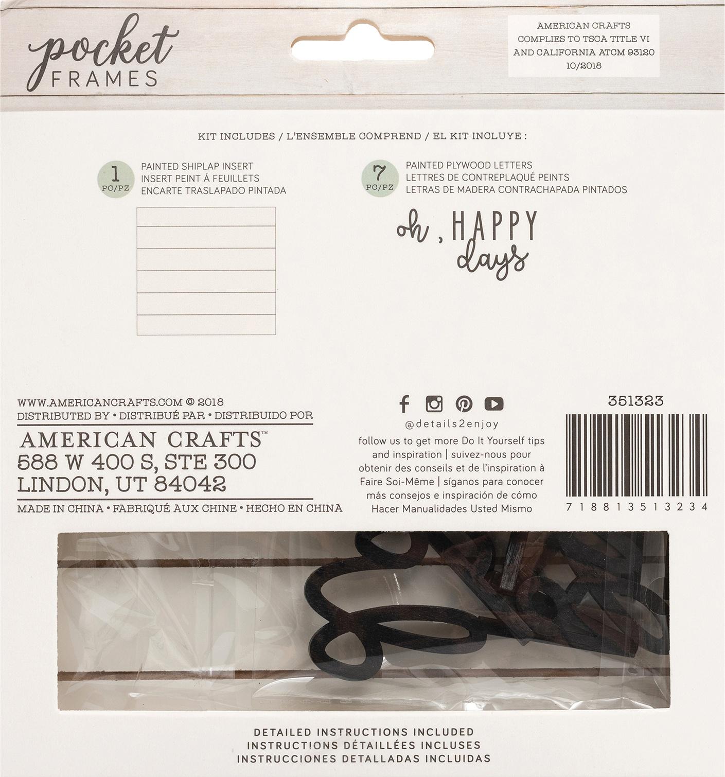 American Crafts Pocket Frames Insert Kit 6X5.5 8/Pkg-Oh Happy Days W/Insert