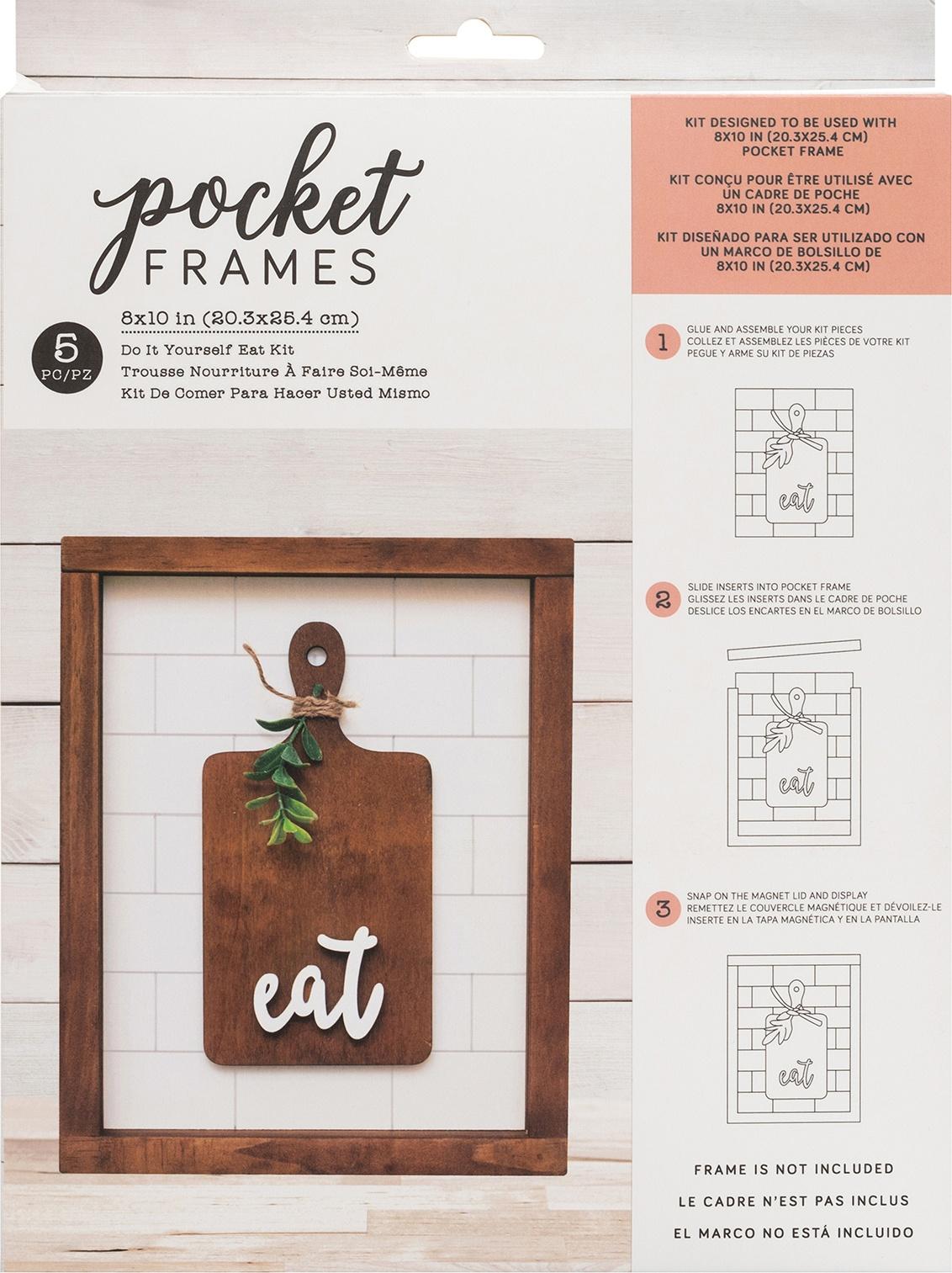 American Crafts Pocket Frames Insert Kit 8X10 5/Pkg-Eat W/Insert