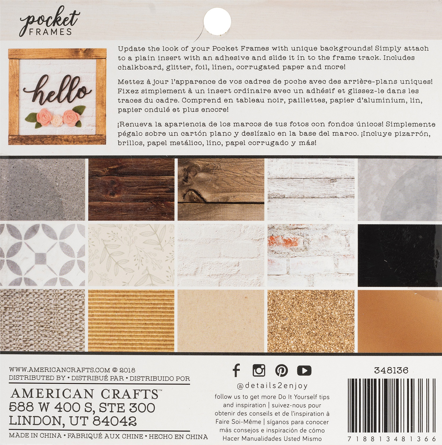 American Crafts Pocket Frames Paper Pad 6X6 15/Pkg-15 Designs/1 Each