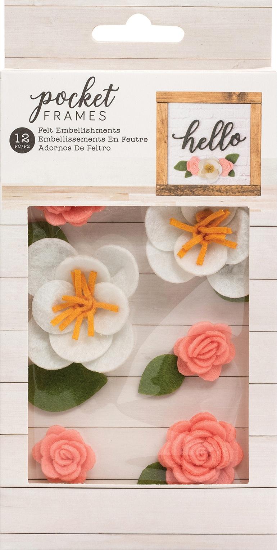 American Crafts Pocket Frames Felt Flowers 12/Pkg-Style #1