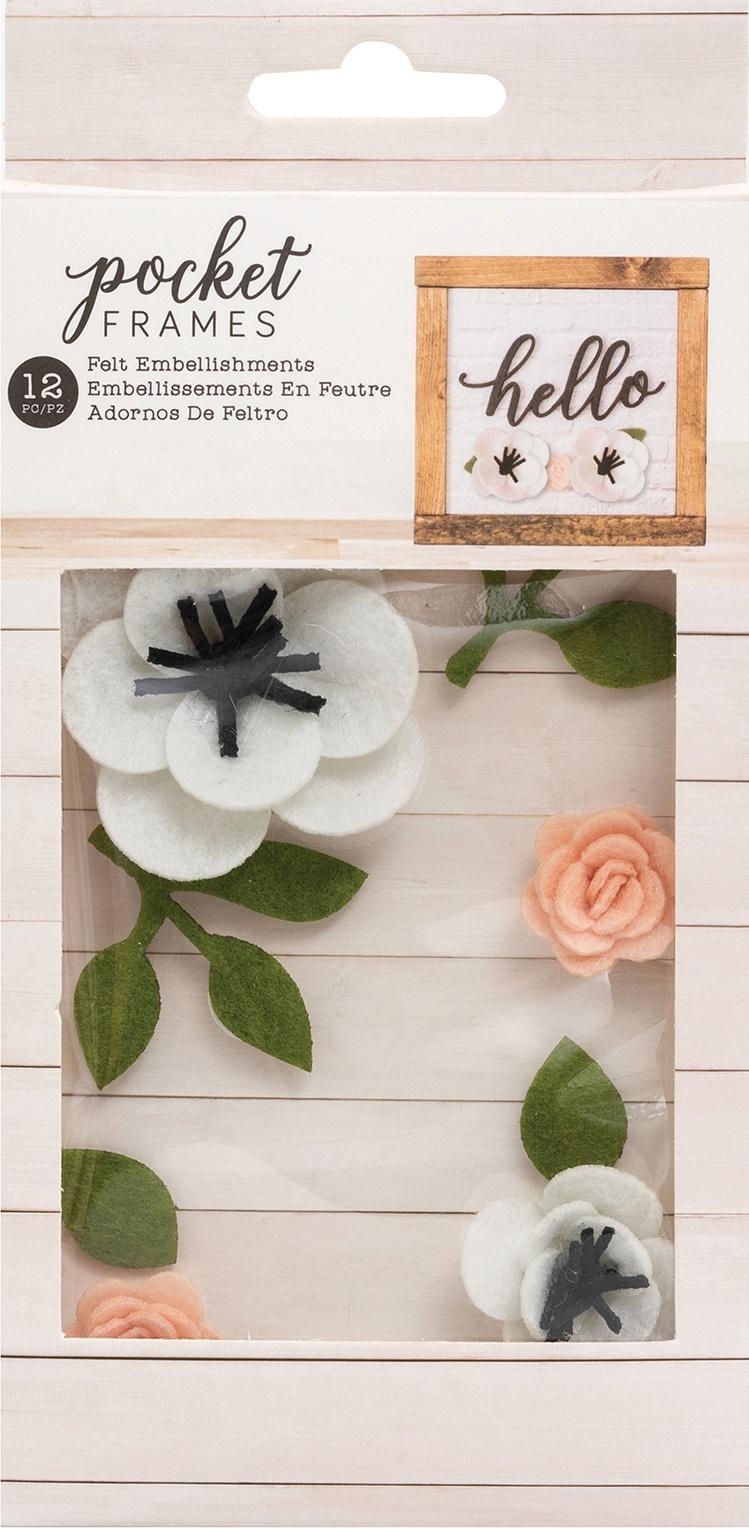 American Crafts Pocket Frames Felt Flowers 12/Pkg-Style #2
