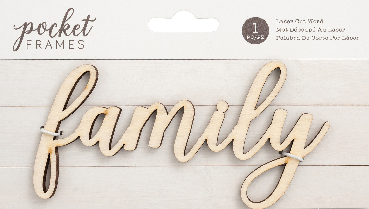 American Crafts Pocket Frames Laser Cut Words-Family
