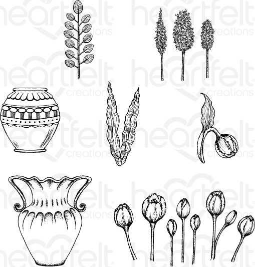 Tulip Vase & Fillers Stamp