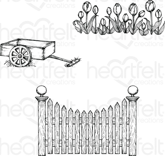 Tulip Cart & Fence Stamp