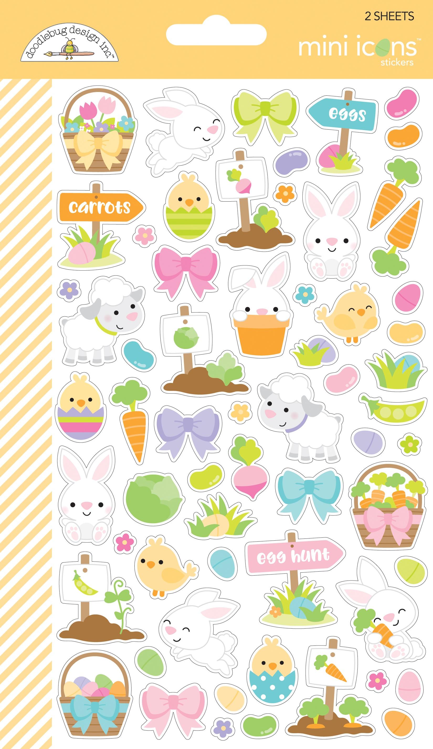 Doodlebug Mini Cardstock Stickers 2/Pkg-Hoppy Easter