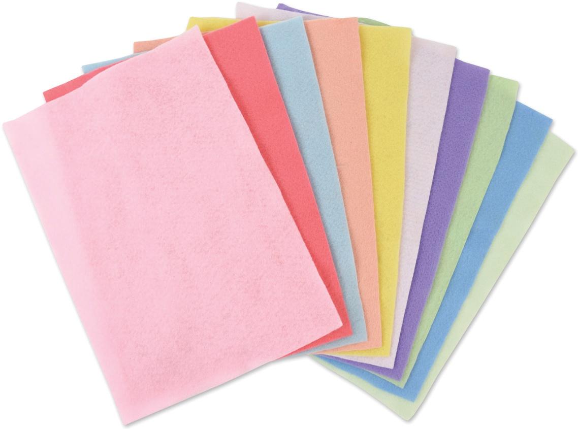Sizzix Felt Sheets 10/Pkg-Assorted Colors-Pastels