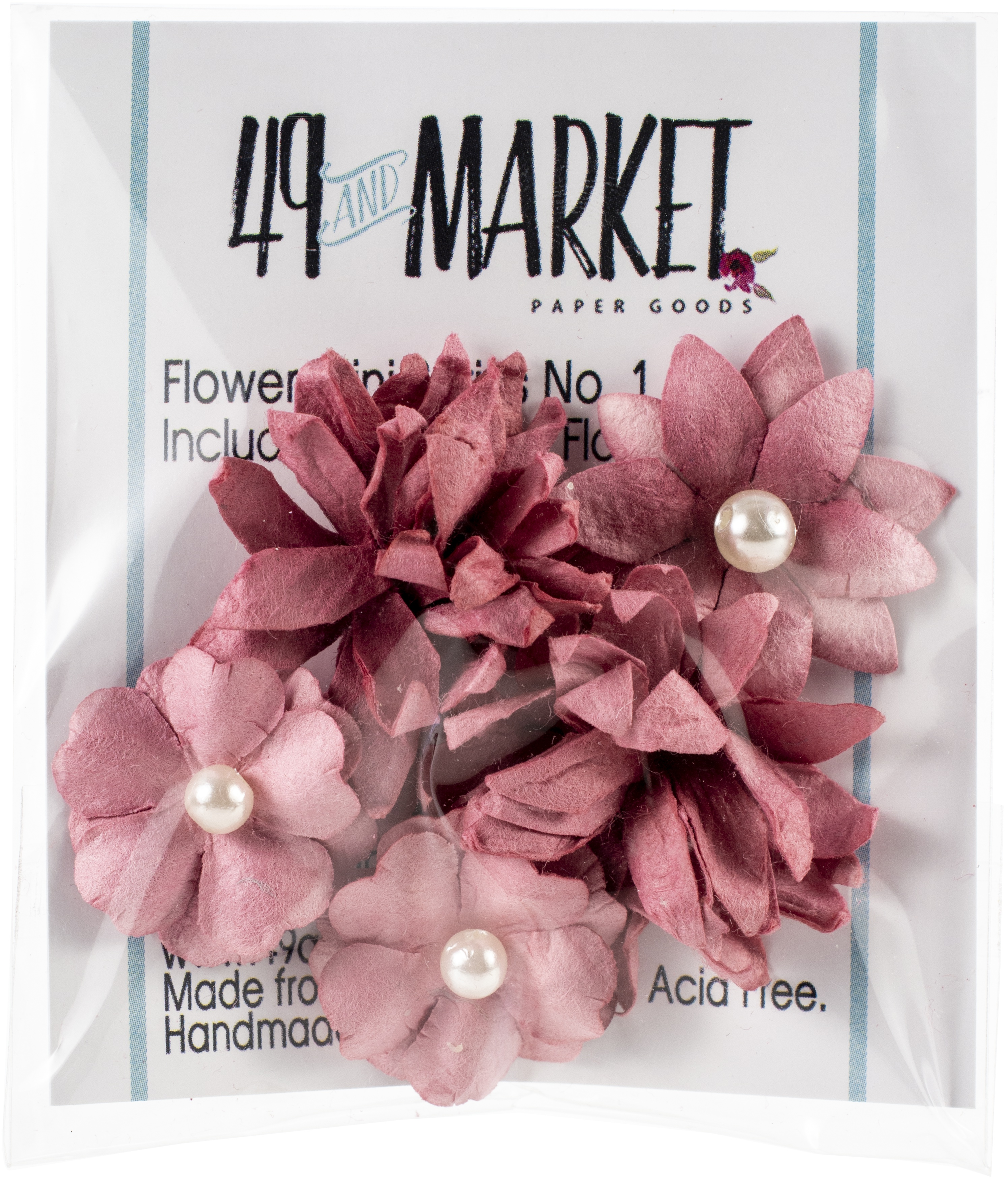 49 And Market Flower Mini Series 01 5/Pkg-Scarlet
