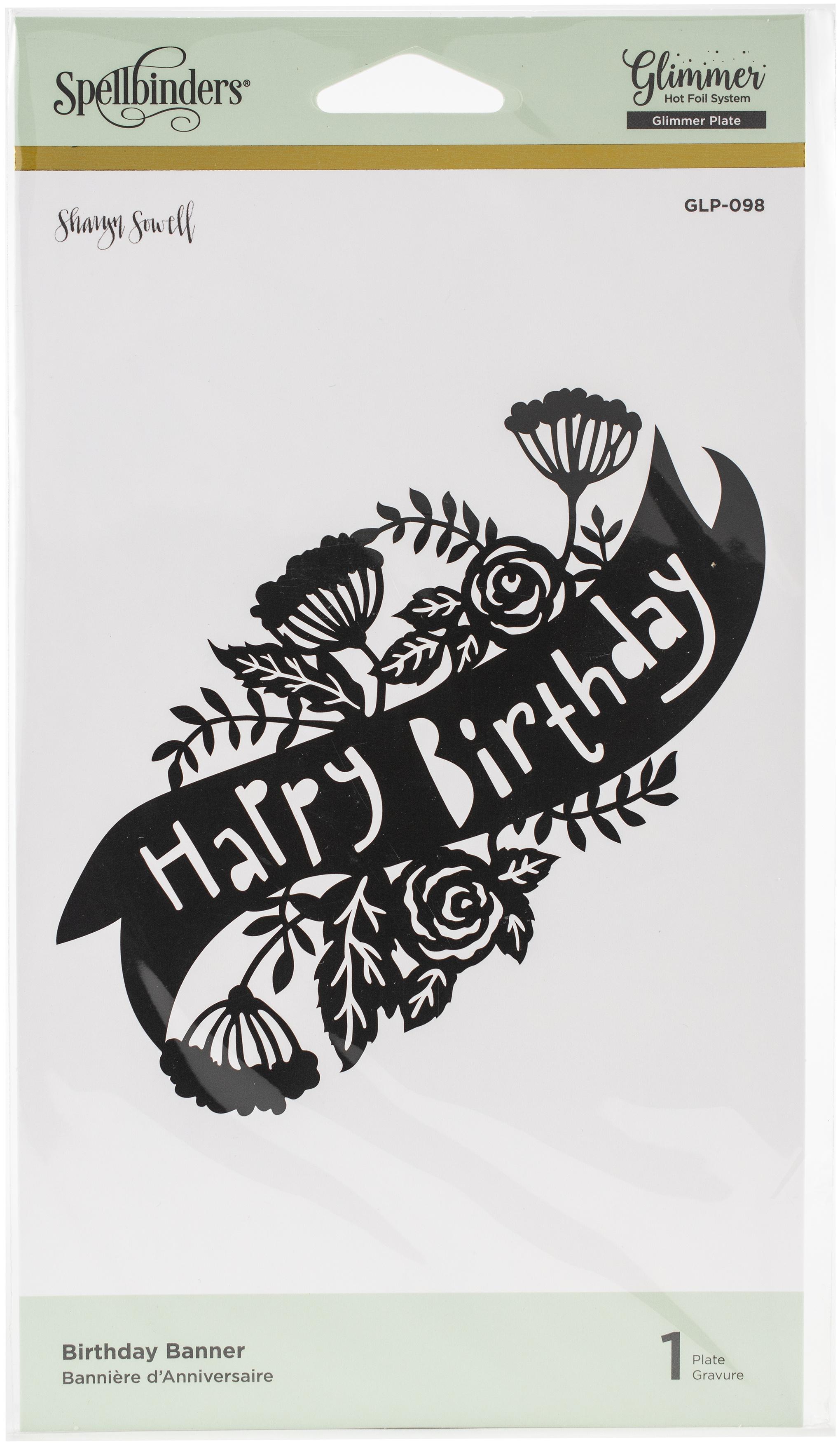 birthday banner glimmer plate