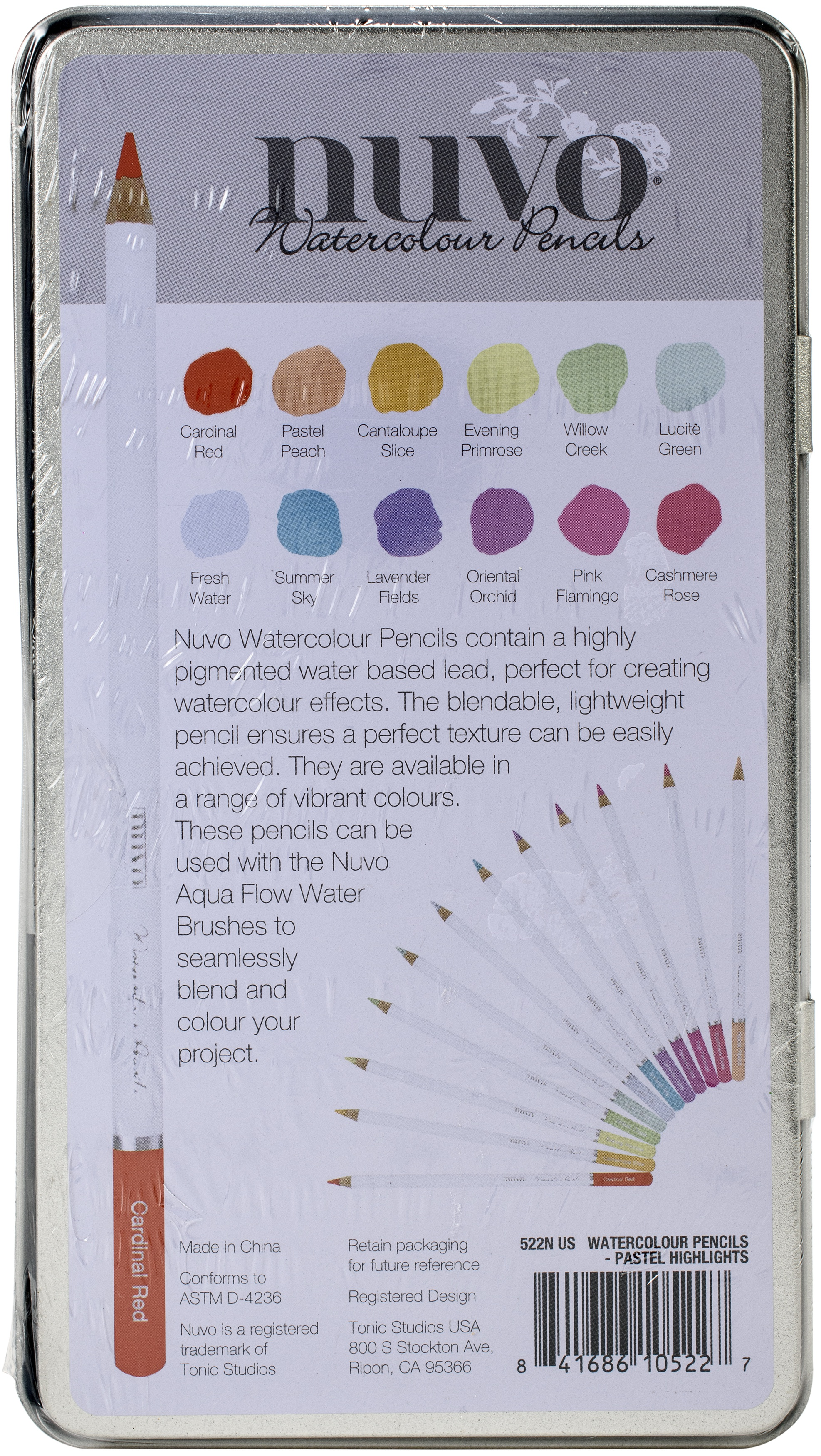 Nuvo Watercolor Pencils 12/Pkg-Pastel Highlights