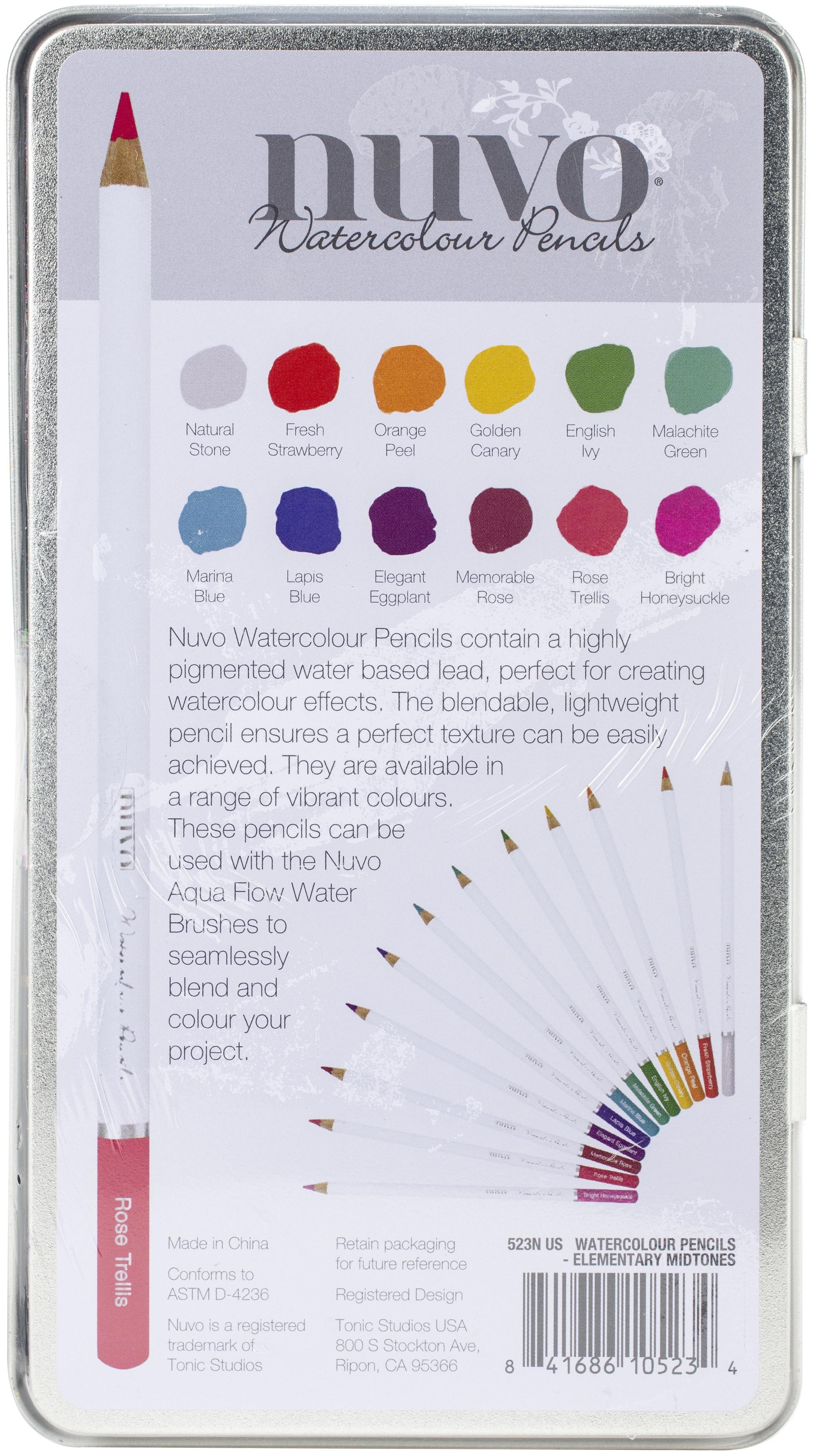 Nuvo Watercolor Pencils 12/Pkg-Elementary Midtones