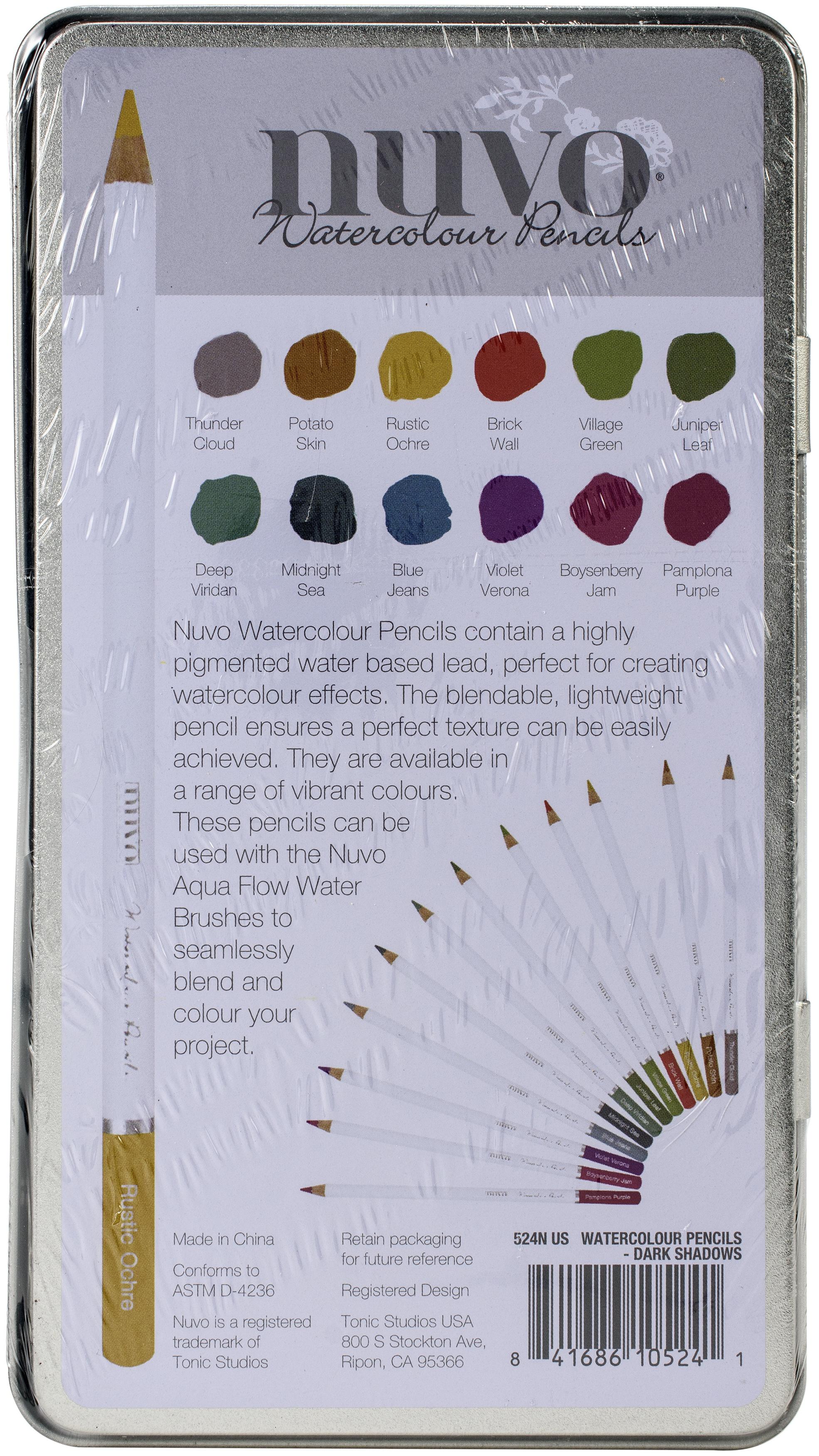Nuvo Watercolor Pencils 12/Pkg-Dark Shadows