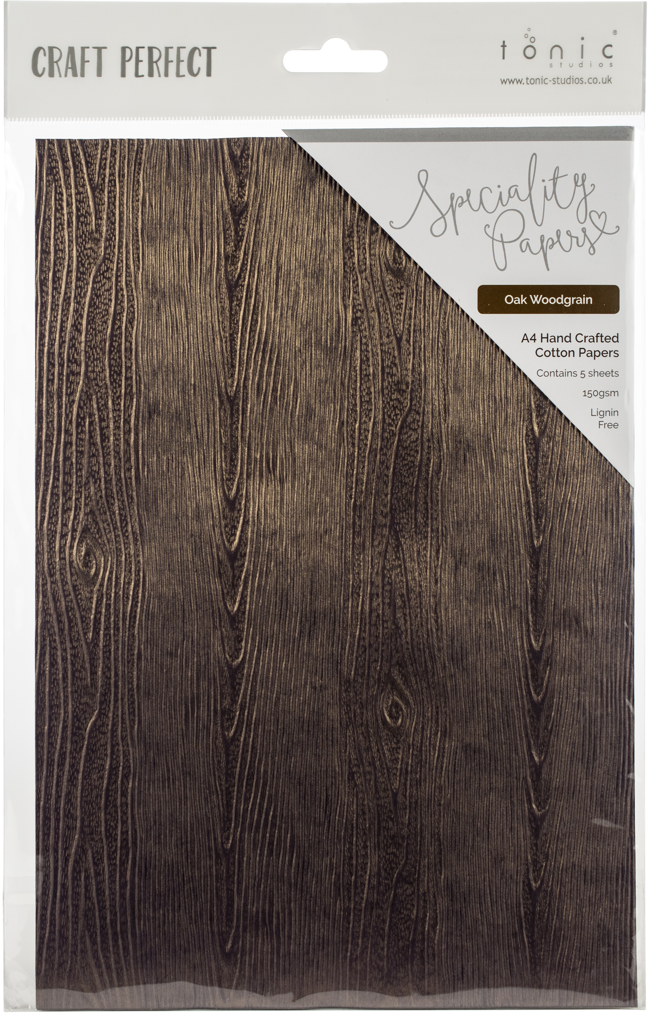 Handcrafted Embossed Cotton Papers A4 5/Pkg-Oak Woodgrain