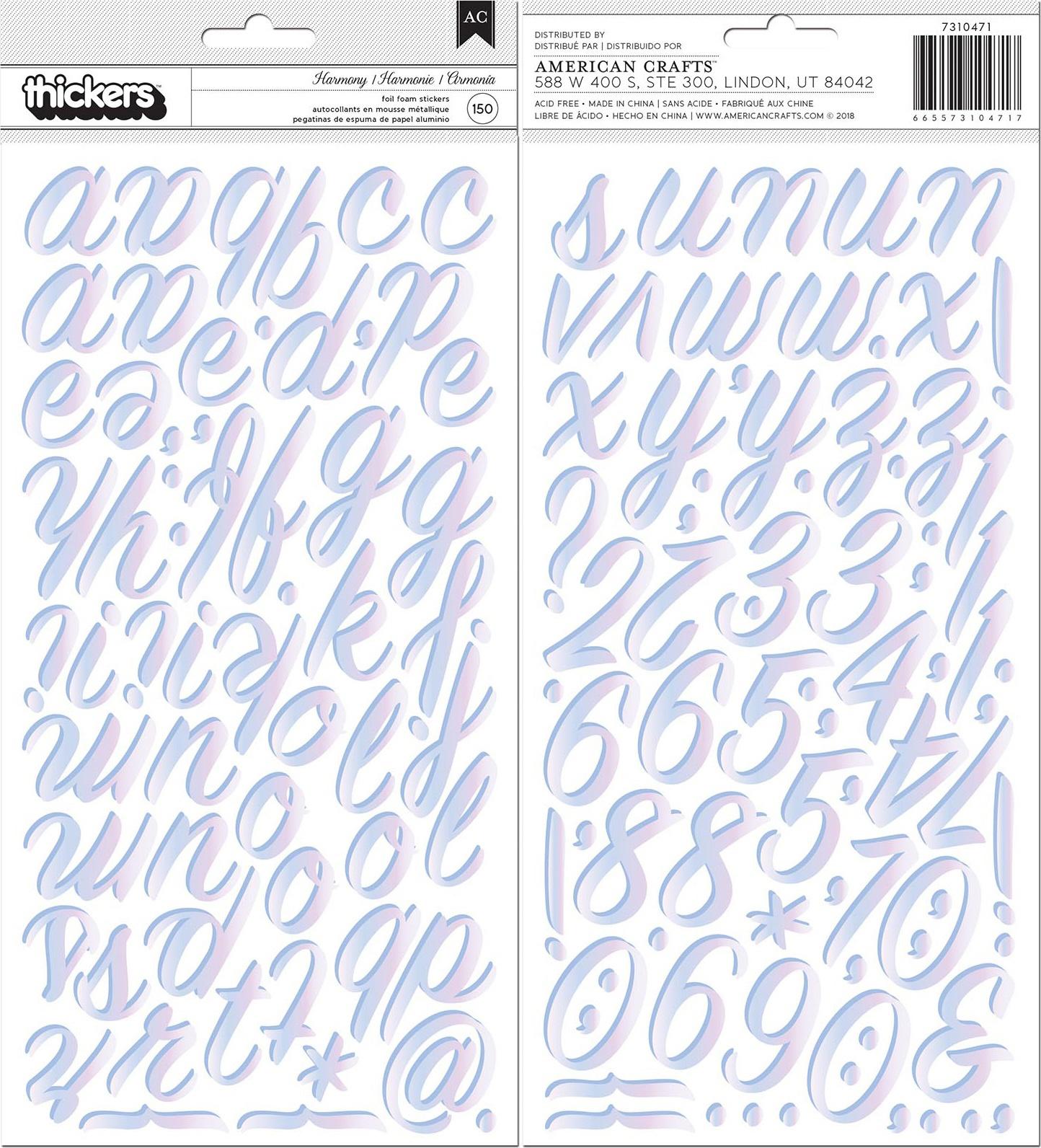American Crafts Thickers Stickers 5.5X11 150/Pkg-Harmony, Alphabet W/Iridescen...