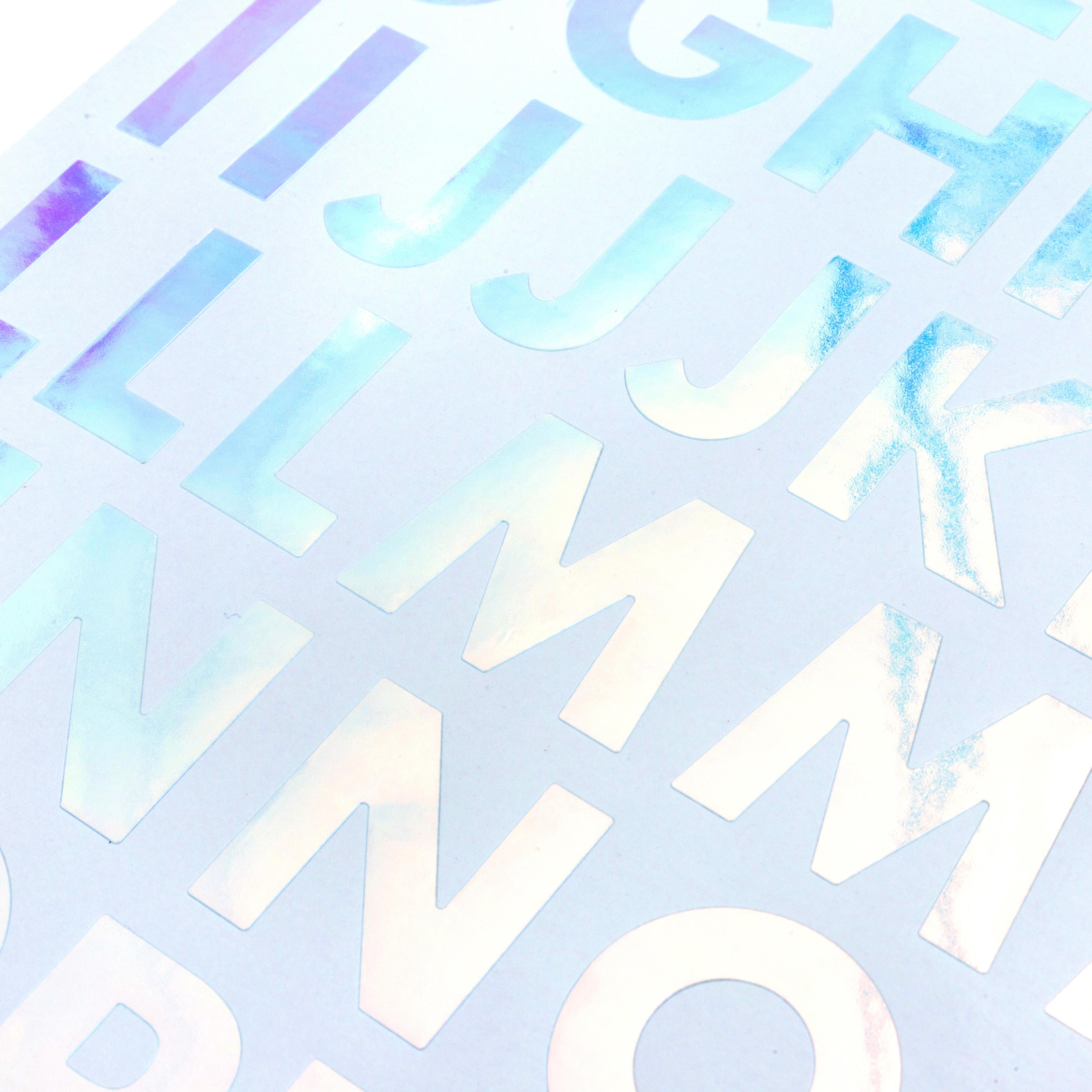 Sticko Iridescent Large Alphabet Stickers-Silver Futura