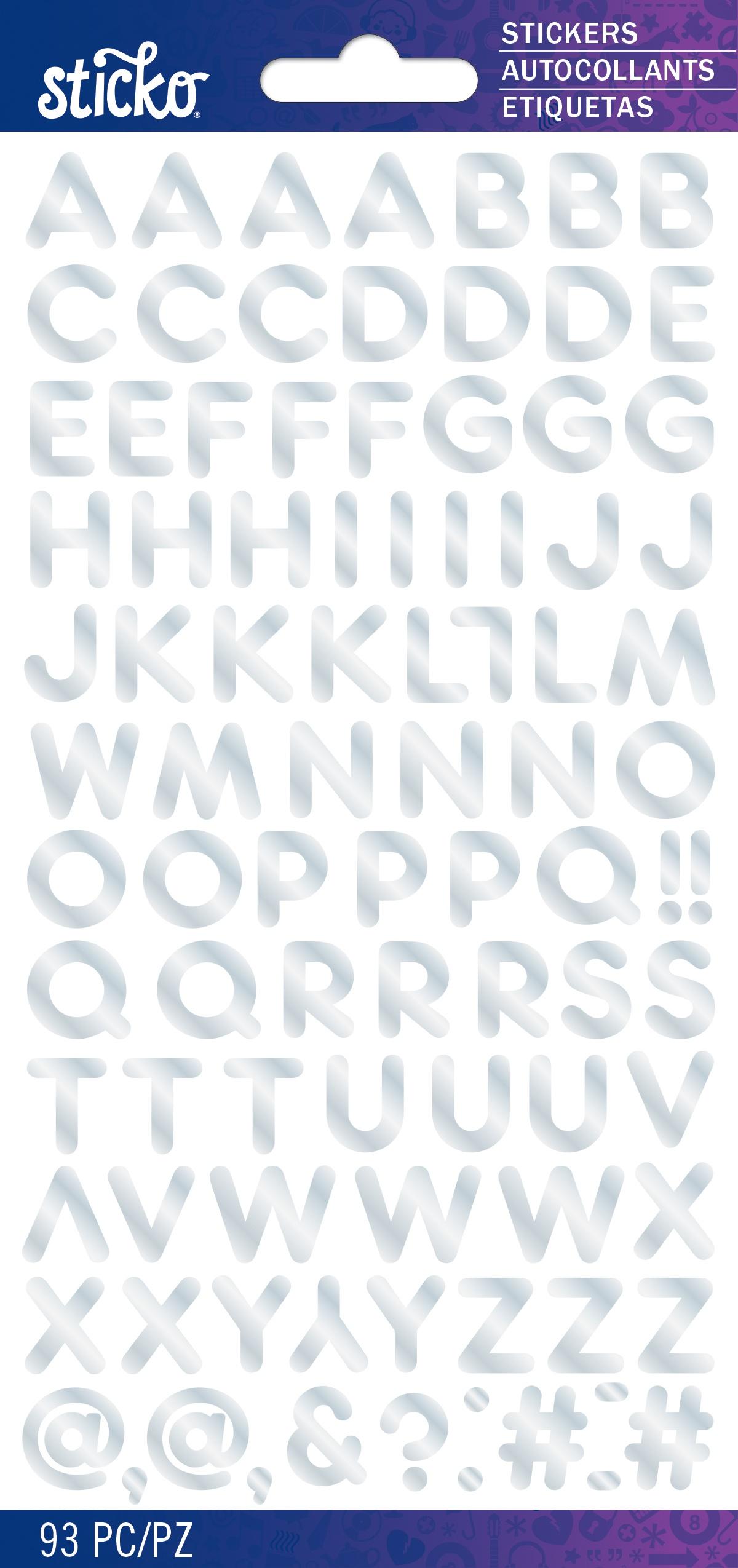 Sticko Iridescent Small Alphabet Stickers-Silver Frankfurter
