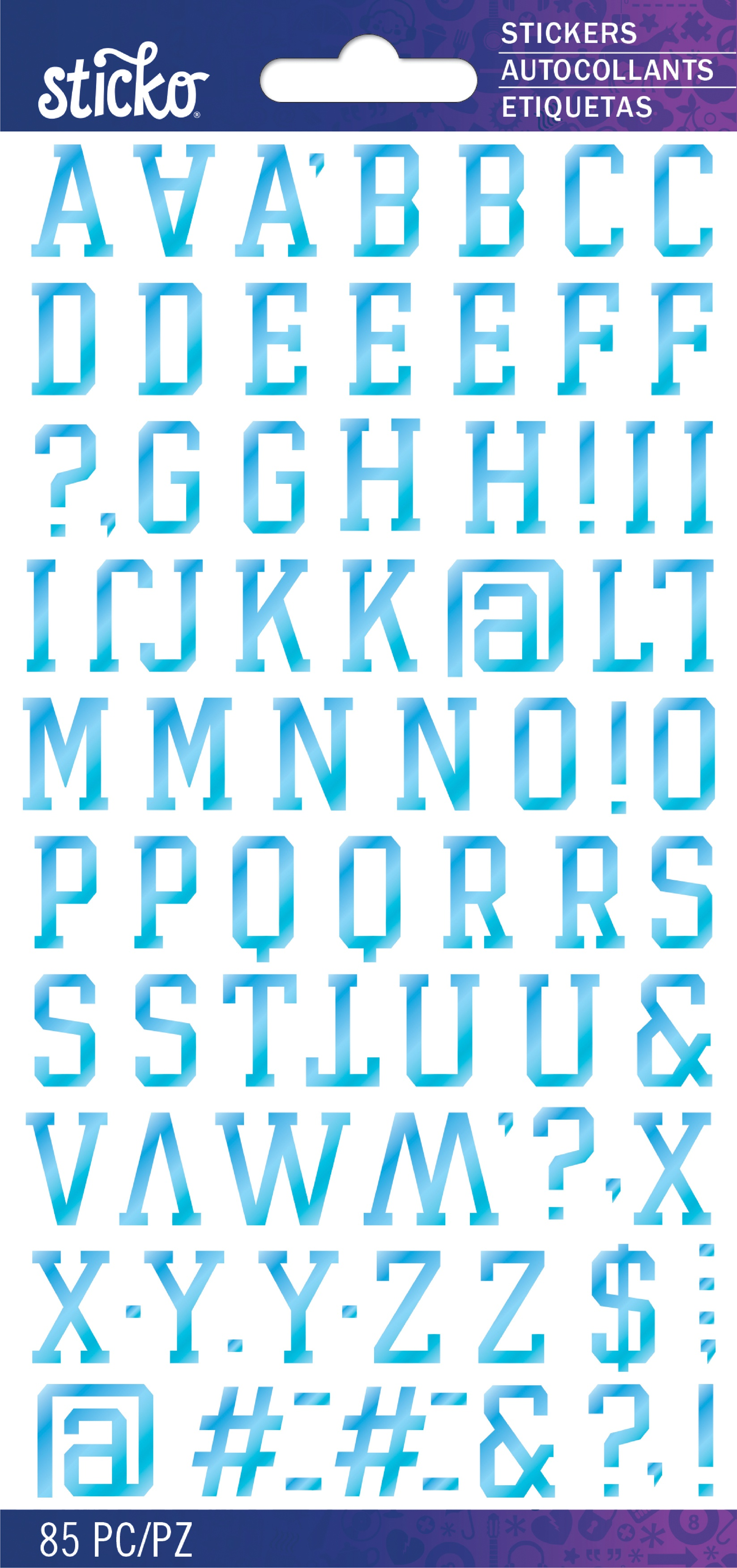 Sticko Iridescent Small Alphabet Stickers-Light Blue Player Pro