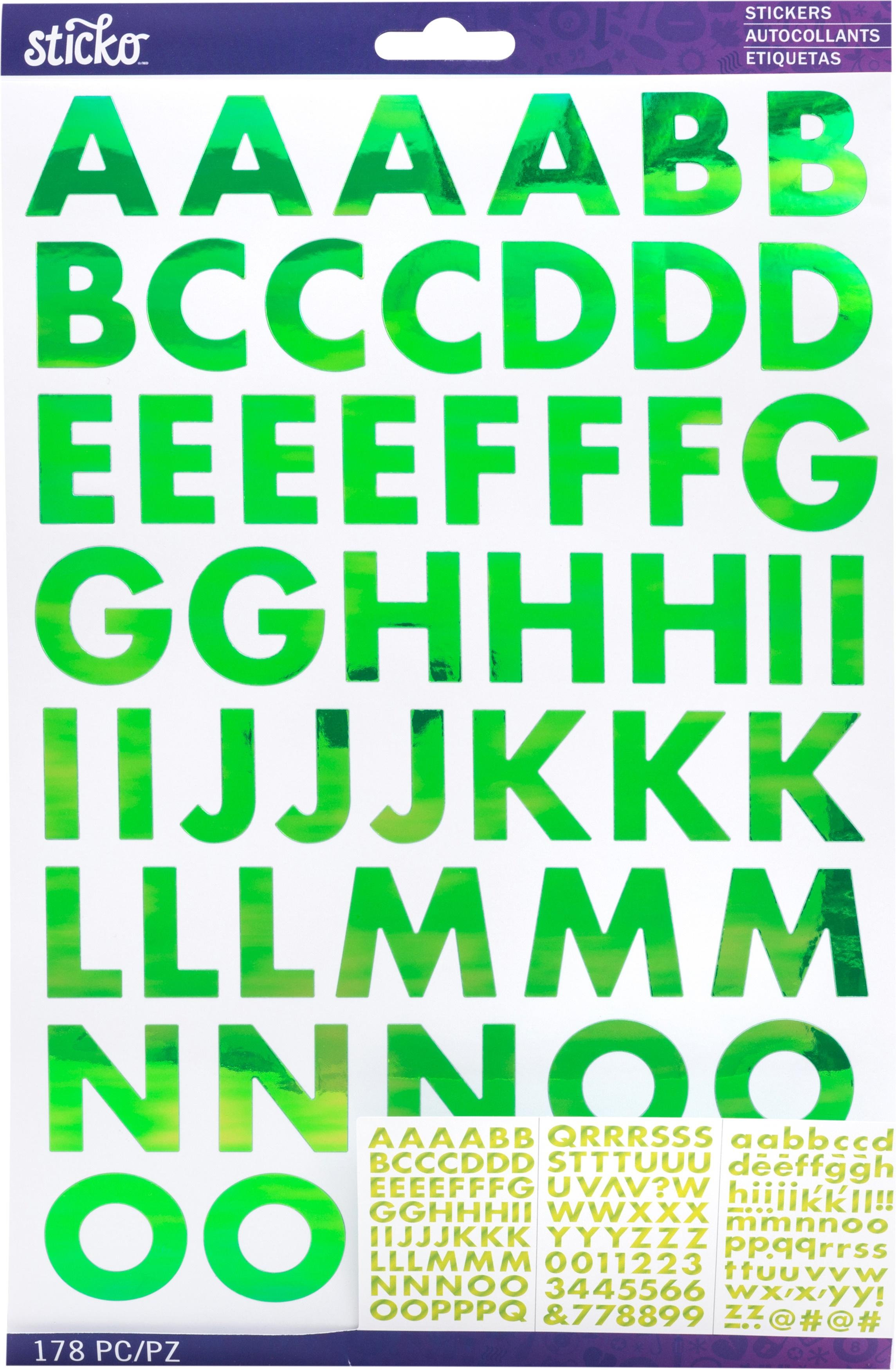 Sticko Iridescent Large Alphabet Stickers-Green Futura