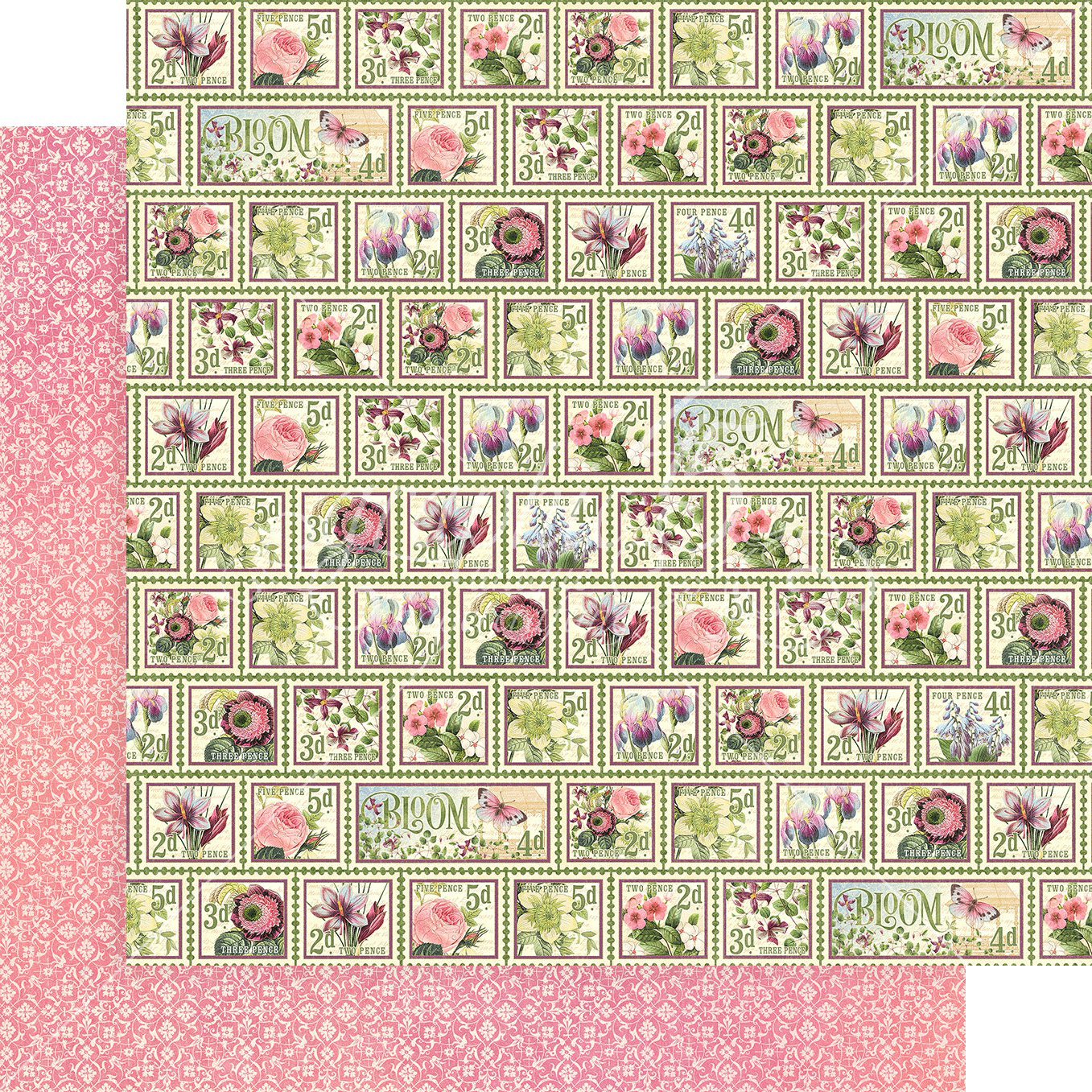 Bloom Double-Sided Cardstock 12X12-Petal Postage