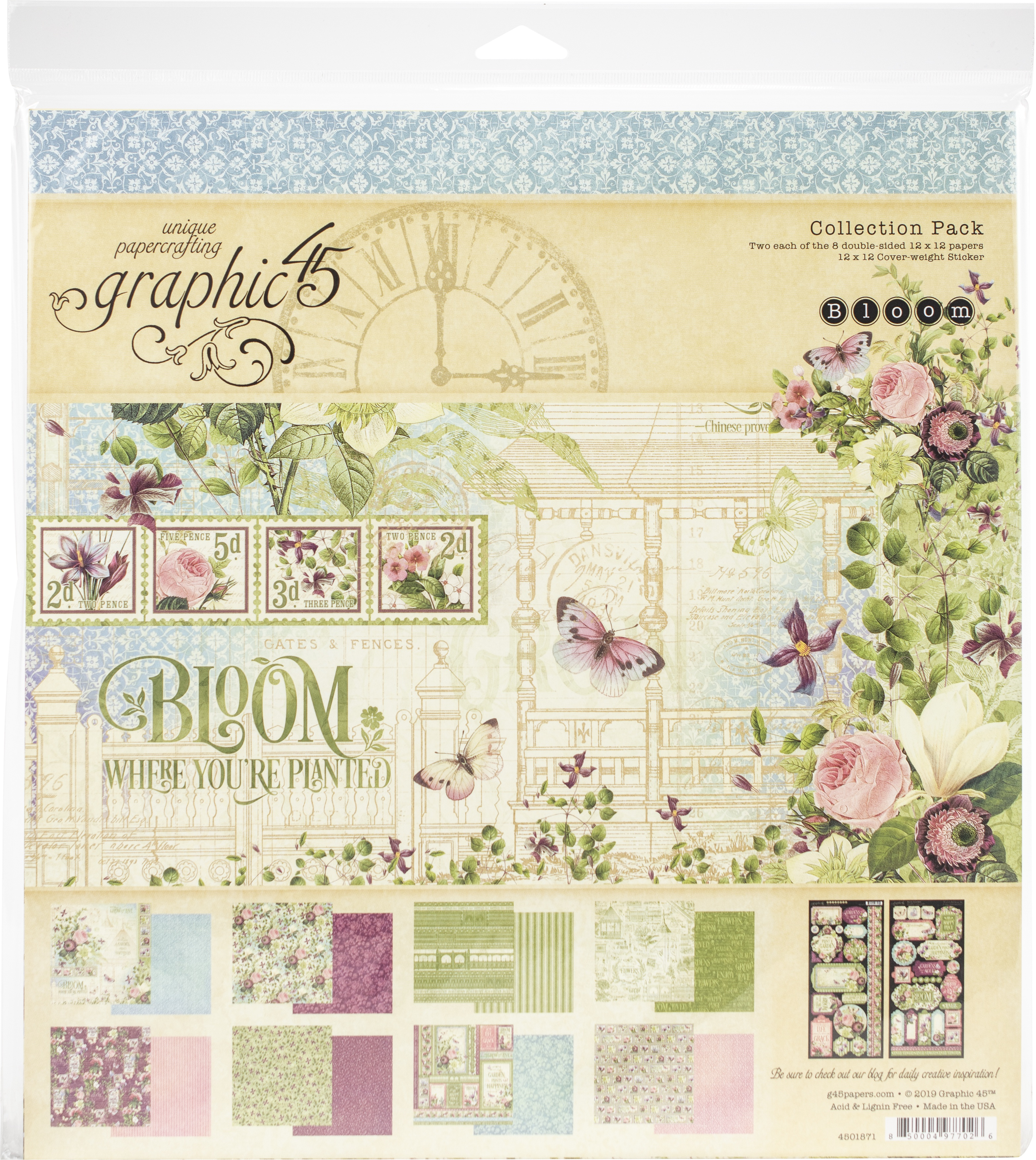 Graphic 45 Collection Pack 12X12-Bloom