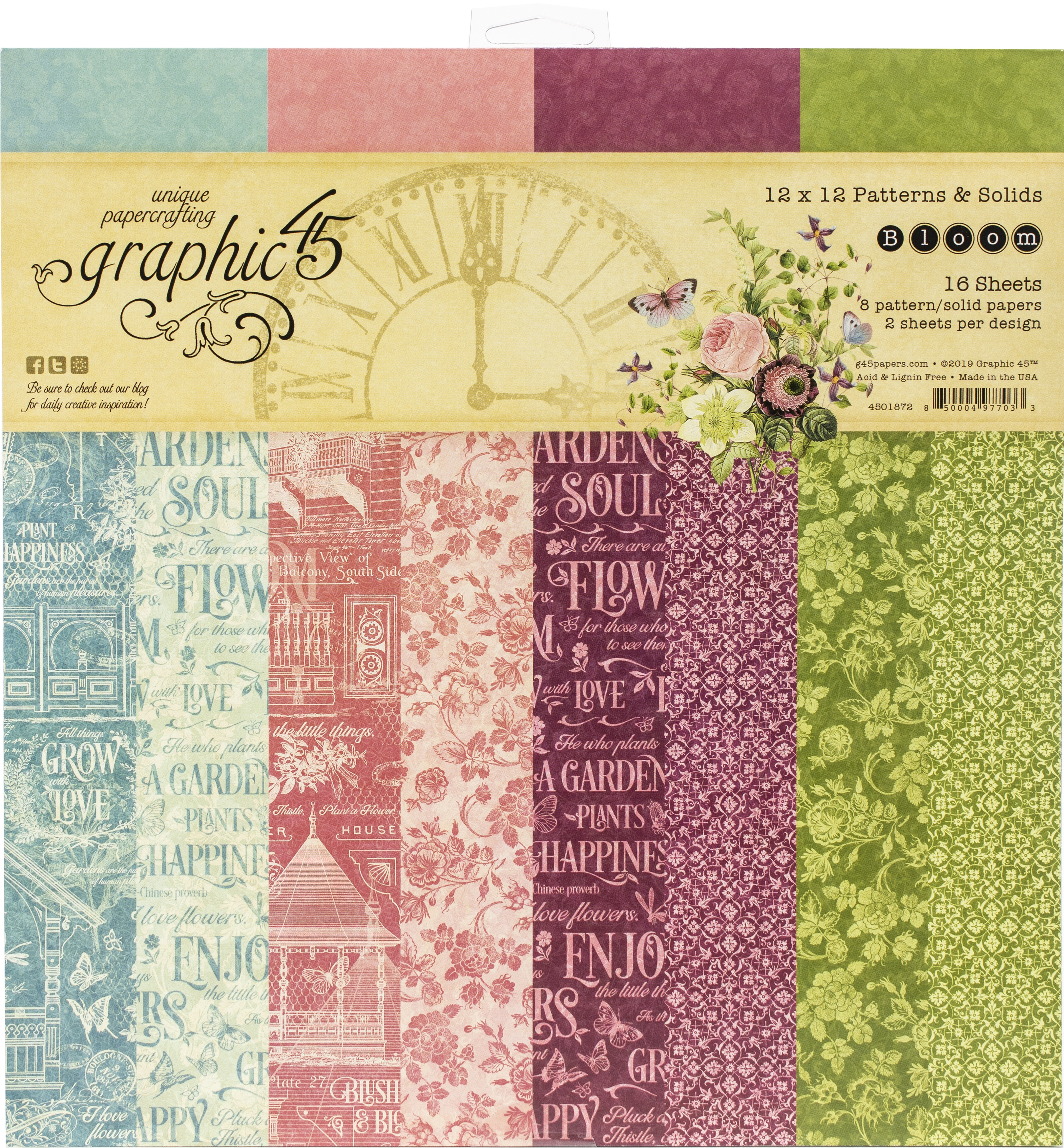 Graphic 45 Double-Sided Paper Pad 12X12 16/Pkg-Bloom, 8 Designs/2 Each