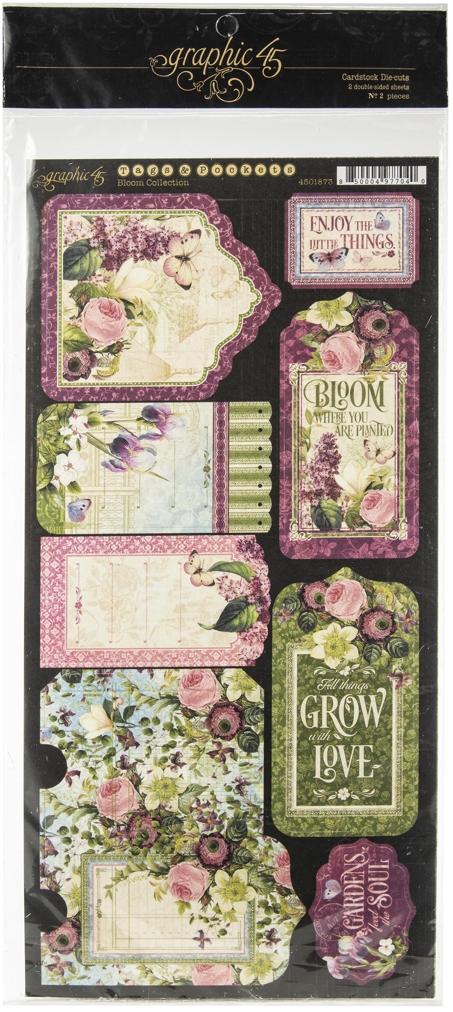 Bloom Cardstock Die-Cuts 6X12 Sheets 2/Pkg-Tags & Pockets