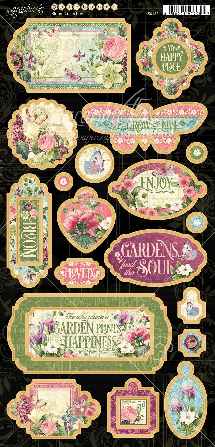 Bloom Chipboard Die-Cuts 6X12 Sheet-Decorative & Journaling