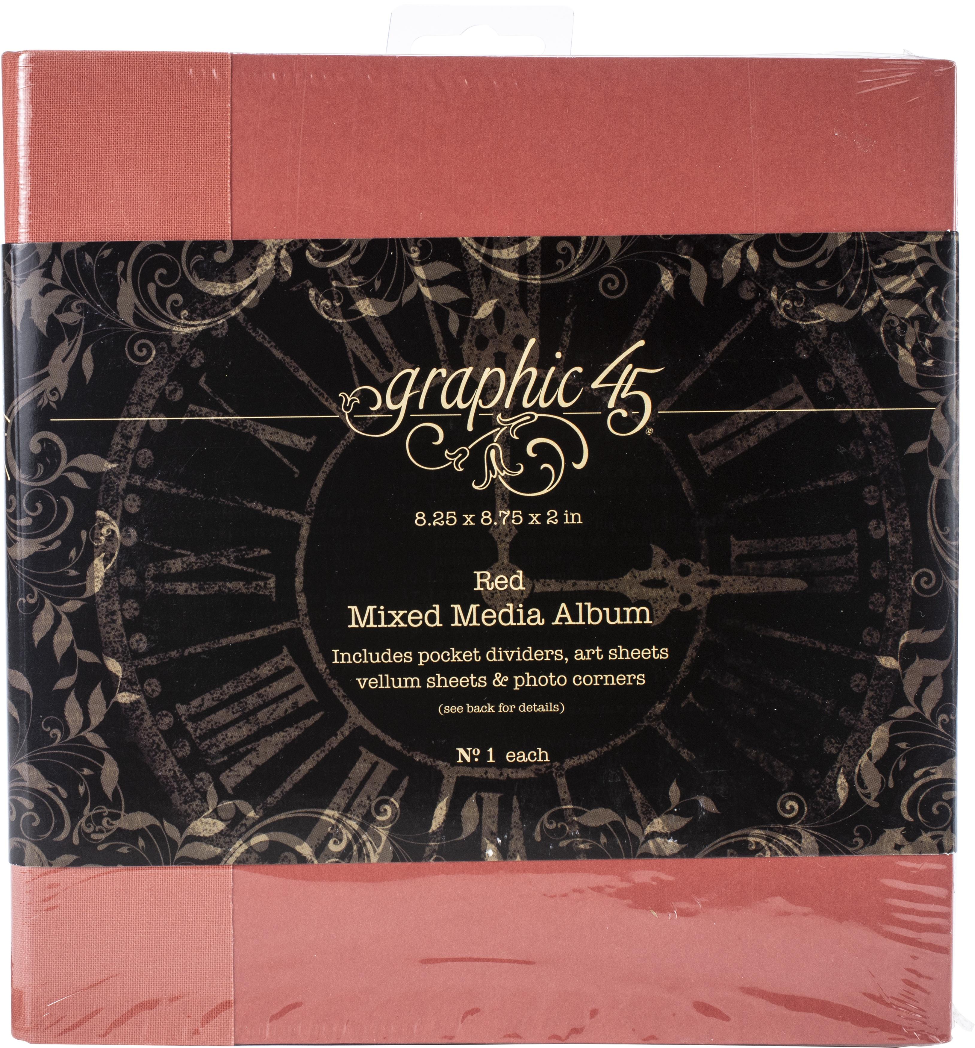 Graphic 45 Mixed Media Album 8X8- Red