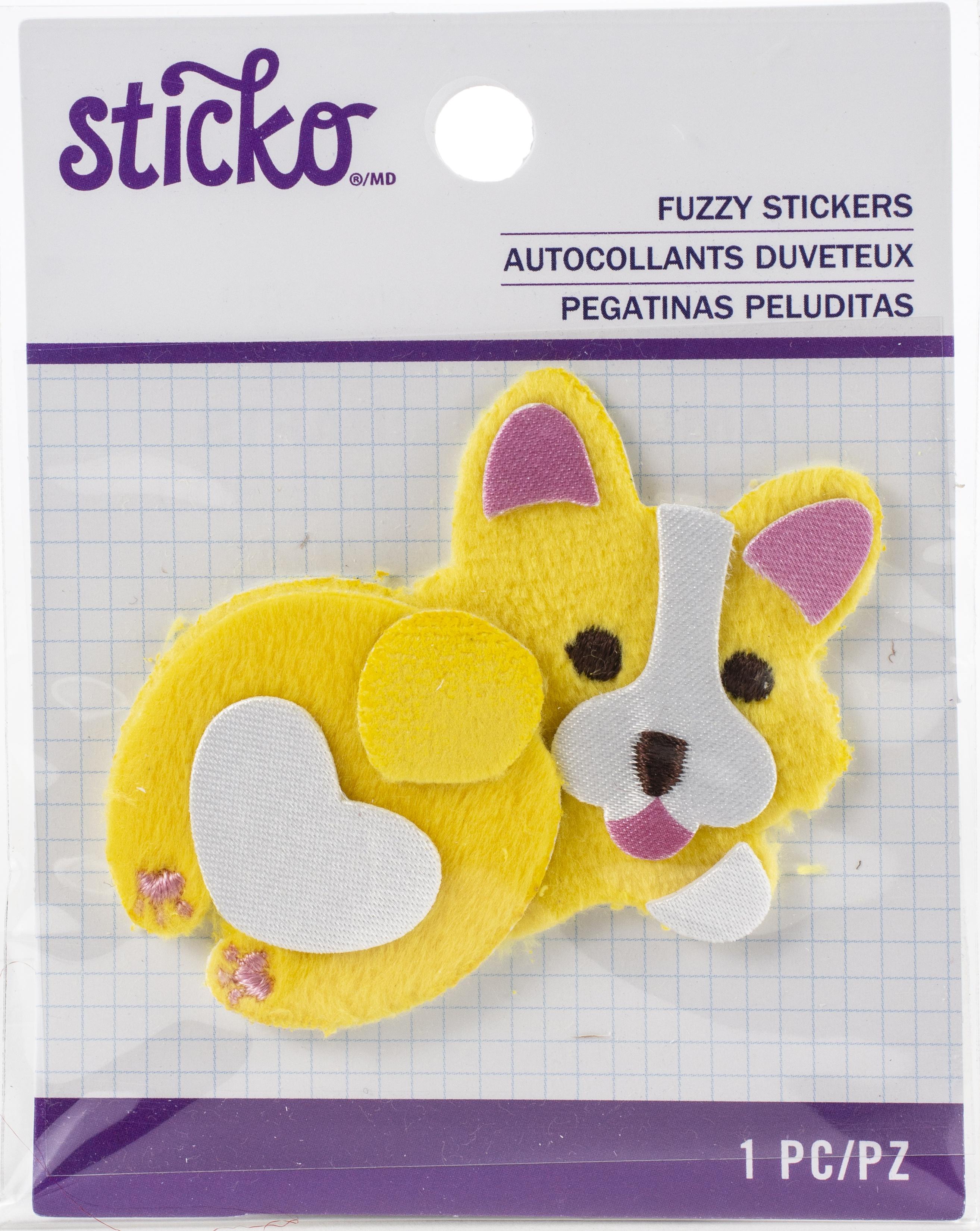 Sticko Fuzzy Stickers-Fat Corgi