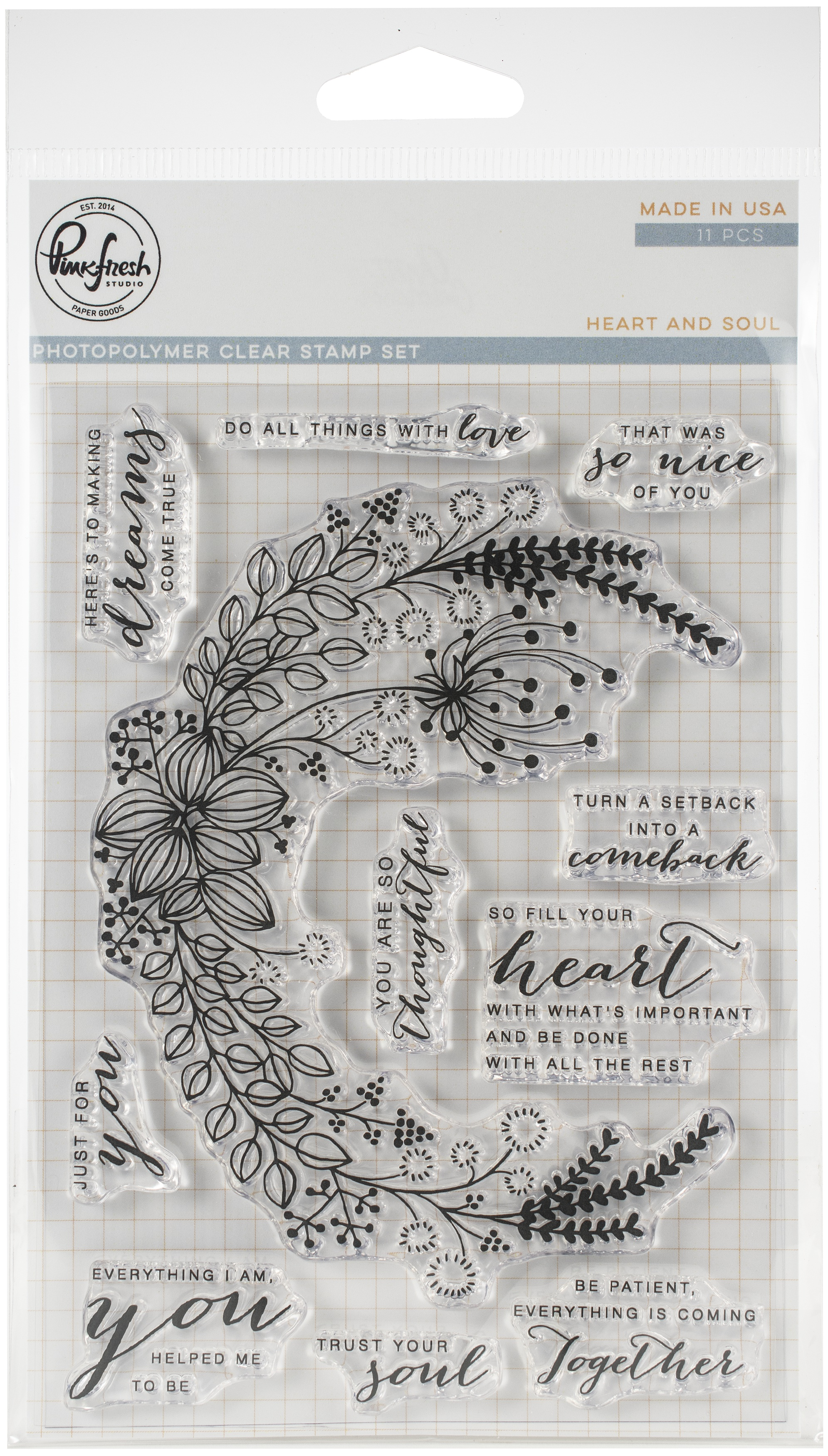 Pinkfresh Studio Clear Stamp Set 4X6-Heart & Soul