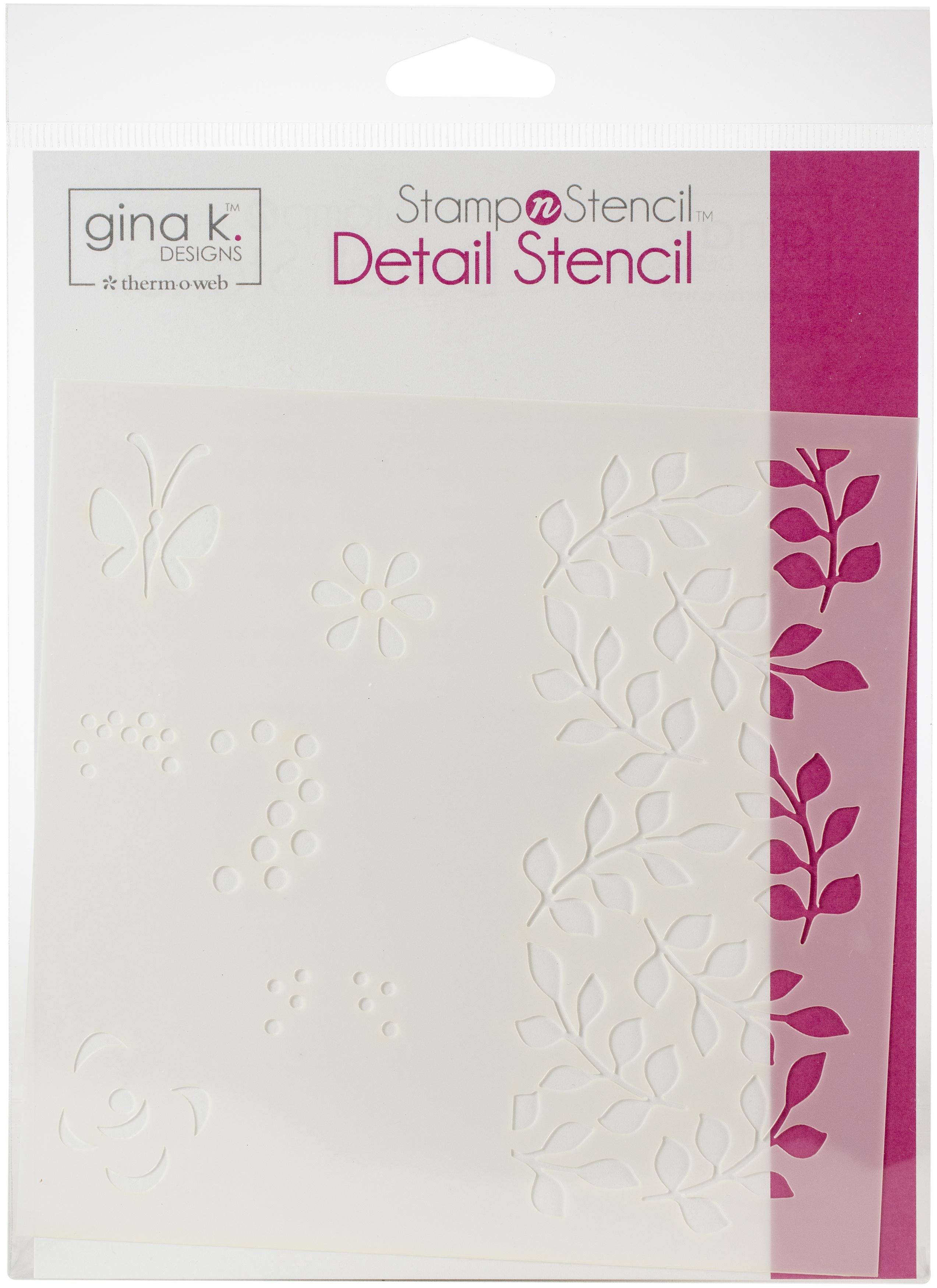 Gina K Designs Stencil 6X6-Petals & Wings