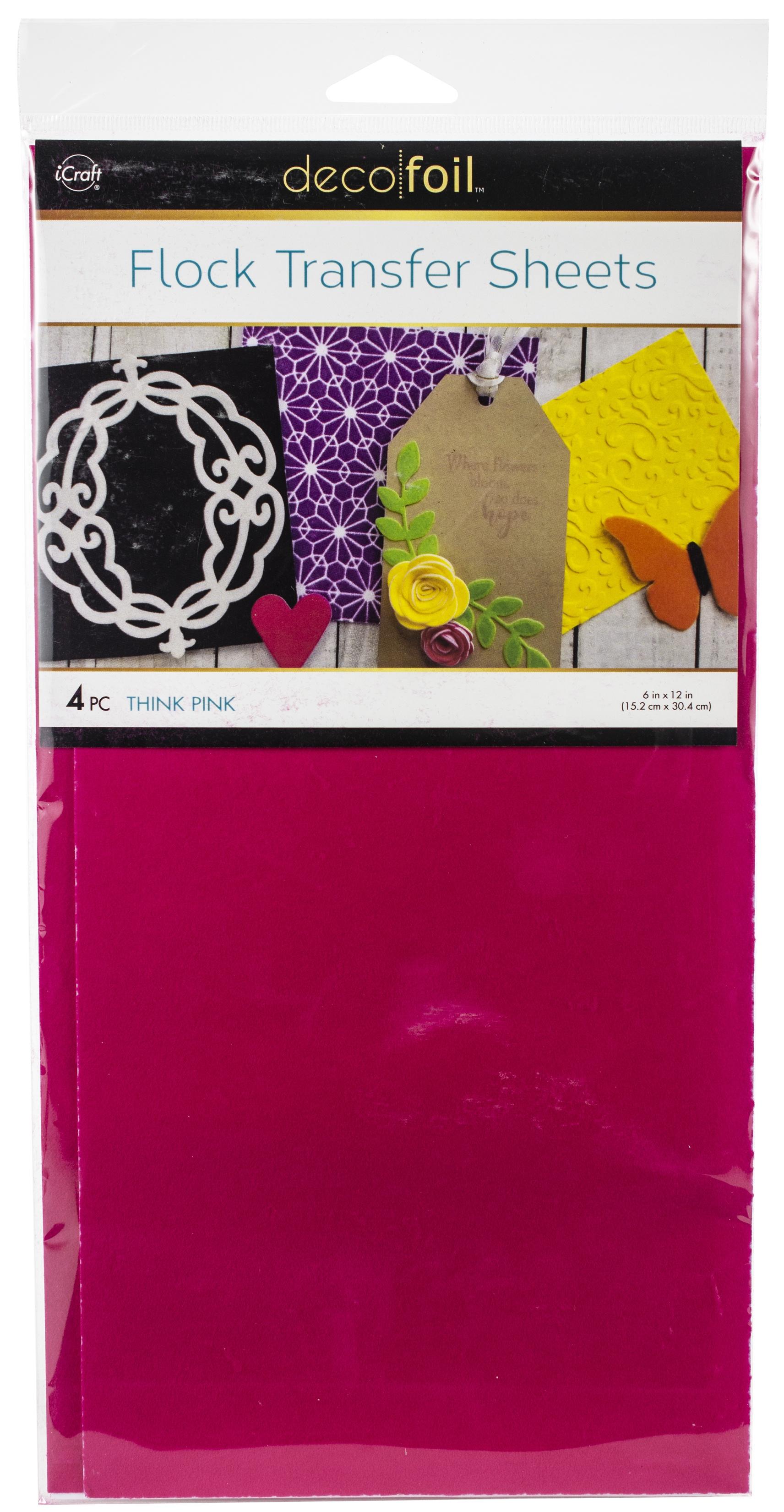 Deco Foil Flock Transfer Sheets 6X12 4/Pkg-Think Pink