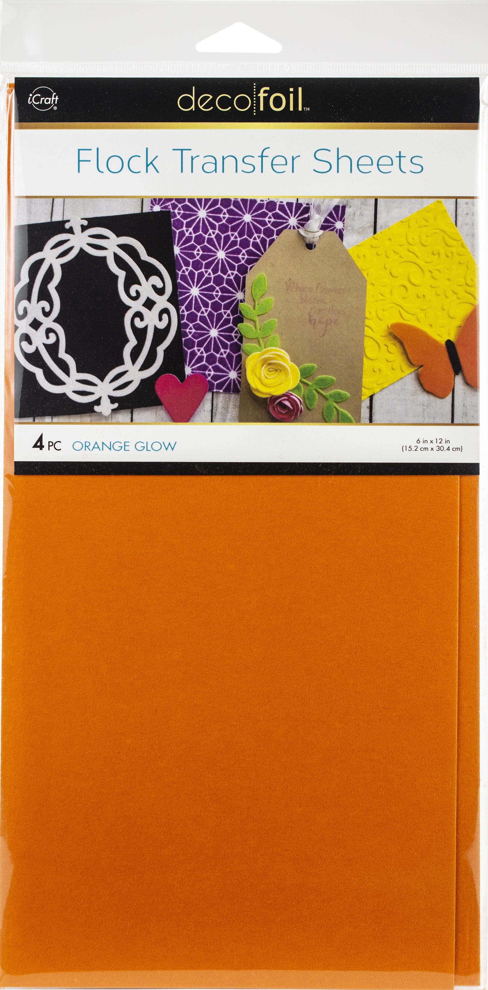 Deco Foil Flock Transfer Sheets 6X12 4/Pkg-Orange Glow