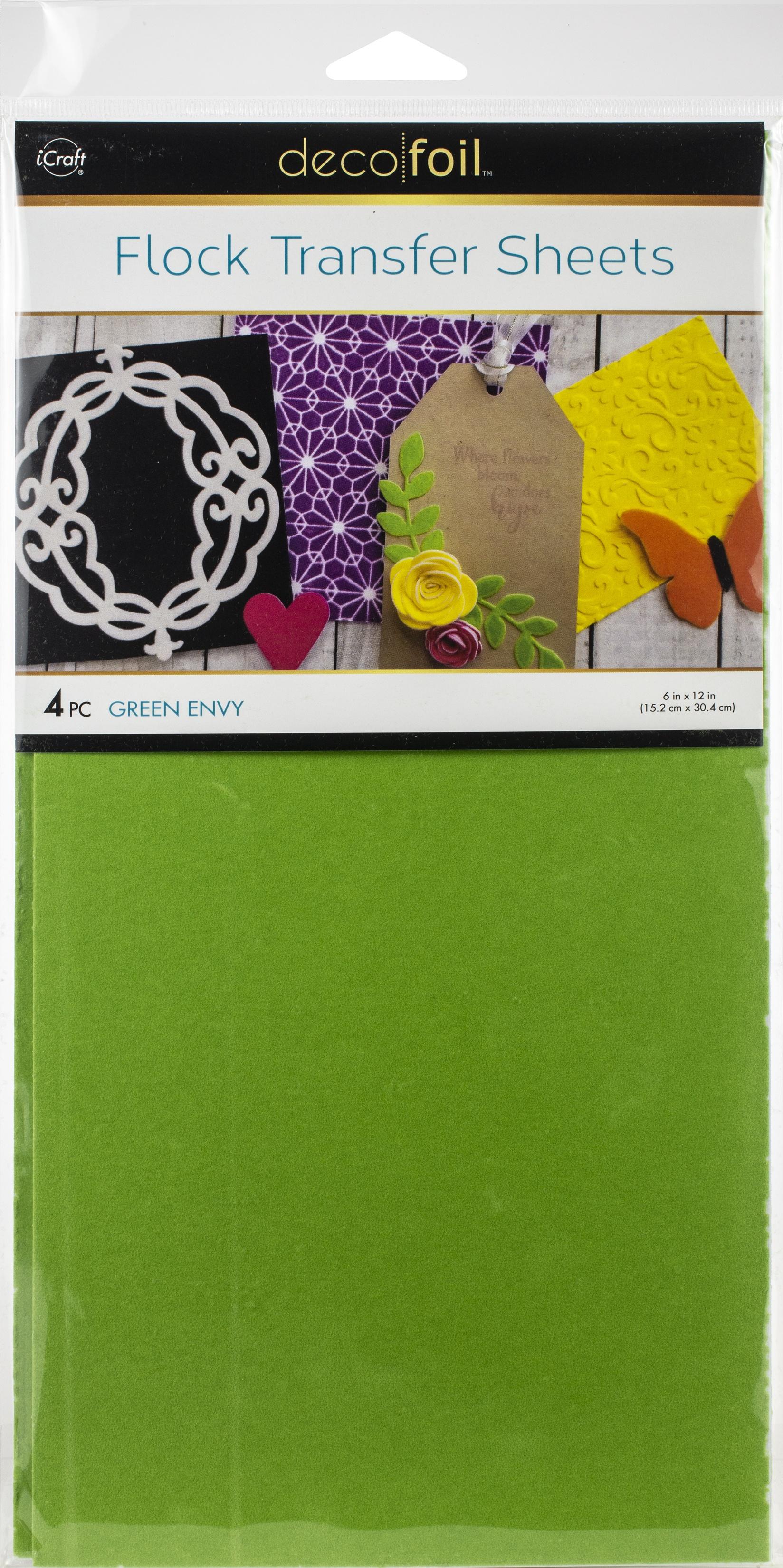 Deco Foil Flock Transfer Sheets 6X12 4/Pkg-Green Envy