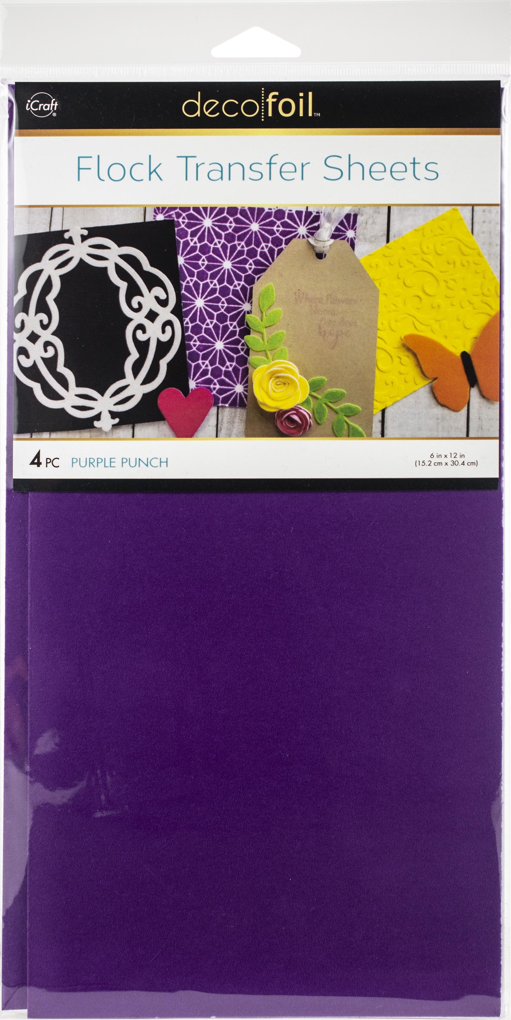 Deco Foil Flock Transfer Sheets 6X12 4/Pkg-Purple Punch