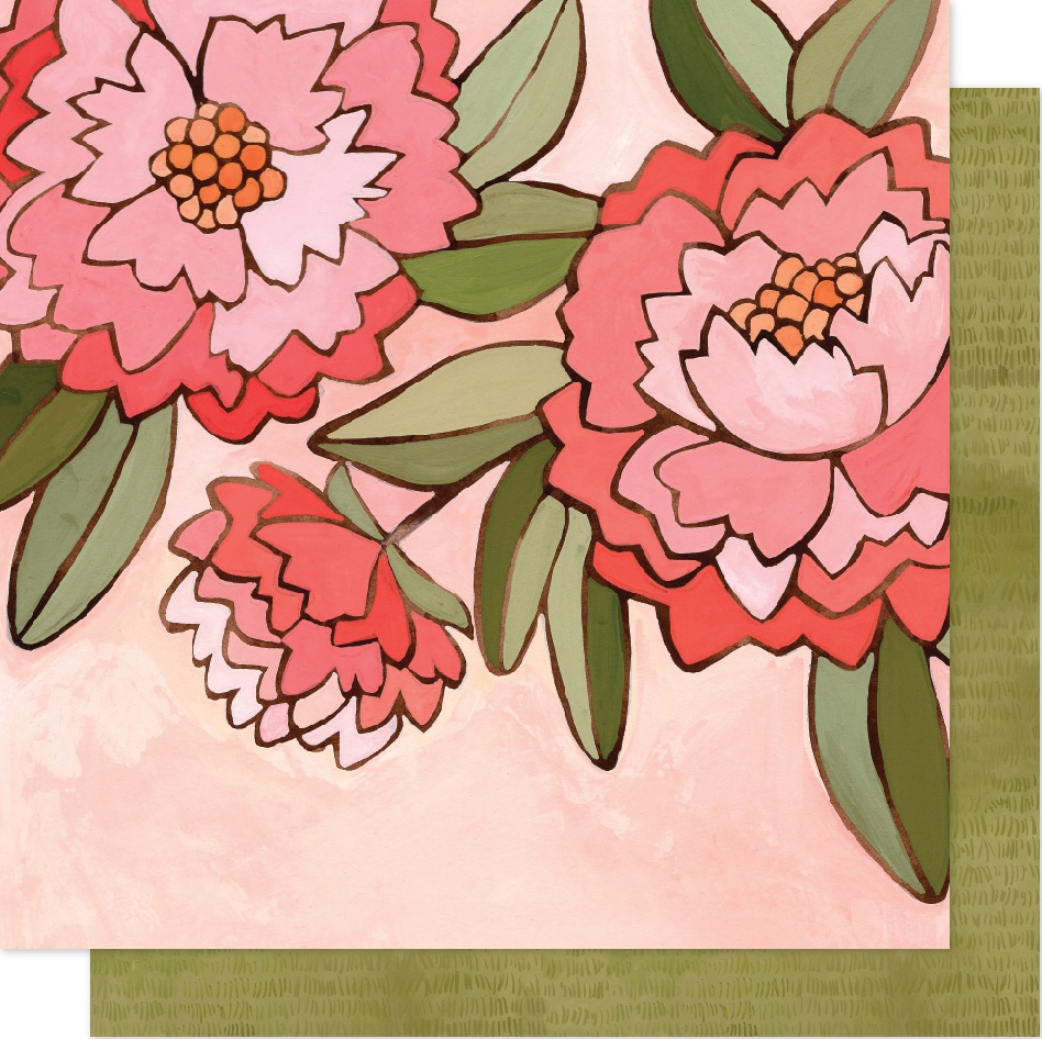 One Canoe Two Saturday Afternoon Dbl-Sided Cardstock 12X12-Pink Peony