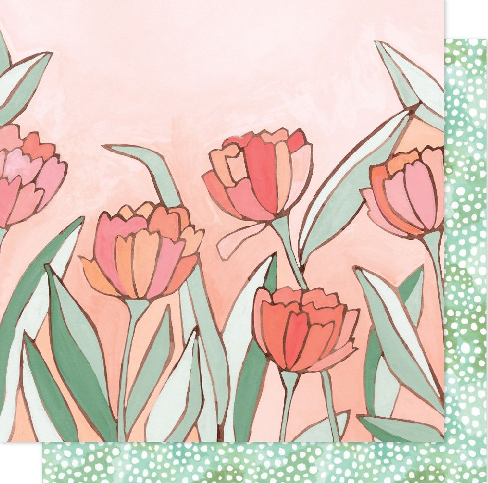 One Canoe Two Saturday Afternoon Dbl-Sided Cardstock 12X12-Double Tulips