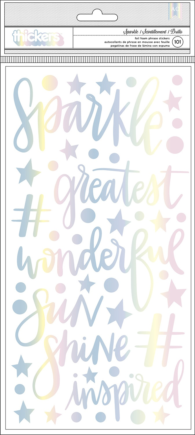 Shimelle Sparkle City Thickers Stickers 5.5X11 101/Pkg-Sparkle Phrases & Icons...