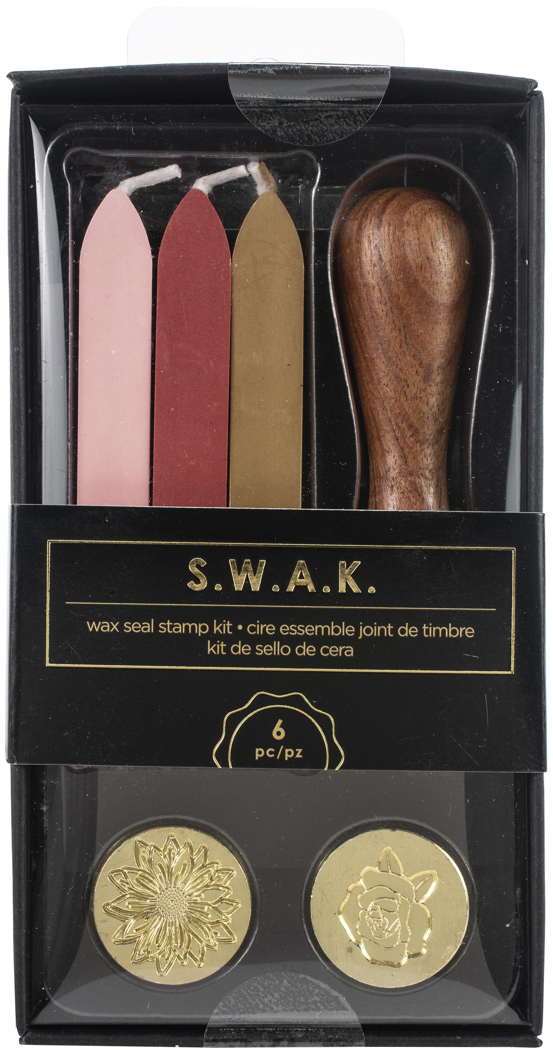 American Crafts S.W.A.K. Wax Seal Kit 6/Pkg-Sunflower/Rose