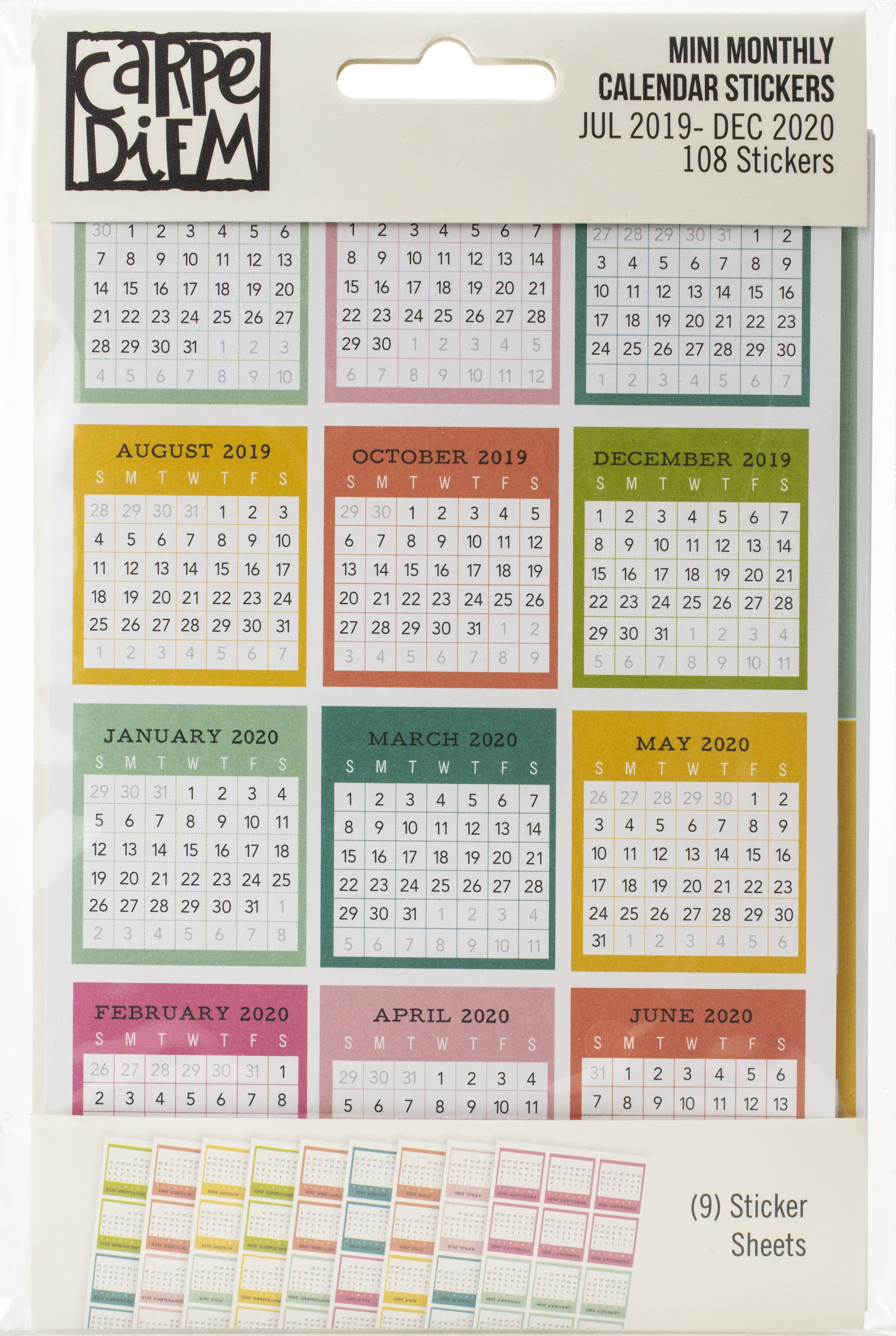 Carpe Diem Dated Mini Calendar Stickers 4X6 9/Pkg-Monthly, July 2019-December ...
