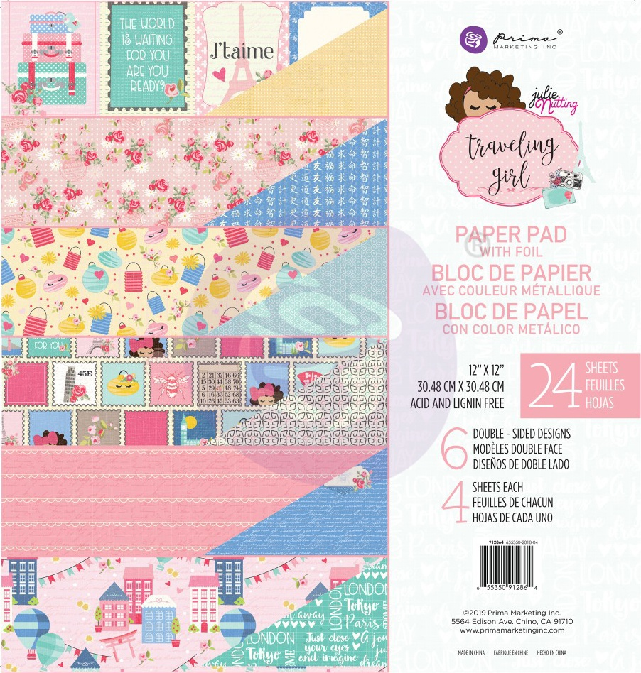 Prima Marketing Double-Sided Paper Pad 12X12 24/Pkg-Traveling Girl, 6 Foiled D...