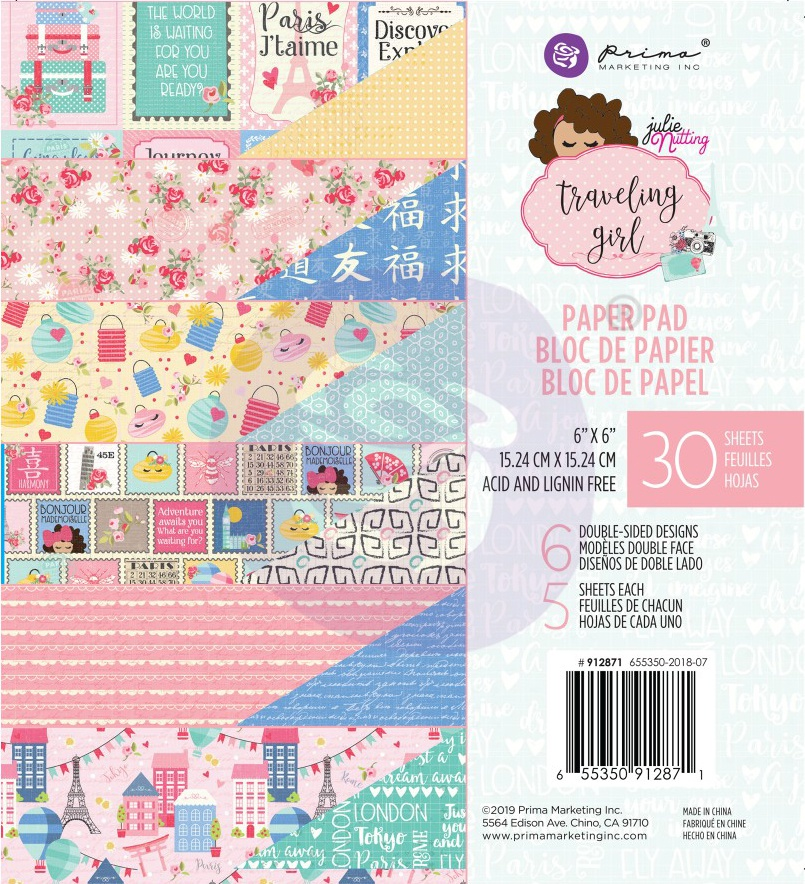 Prima Marketing Double-Sided Paper Pad 6x6 30/Pkg- Traveling Girl, 6 Designs/5 Sheets Each