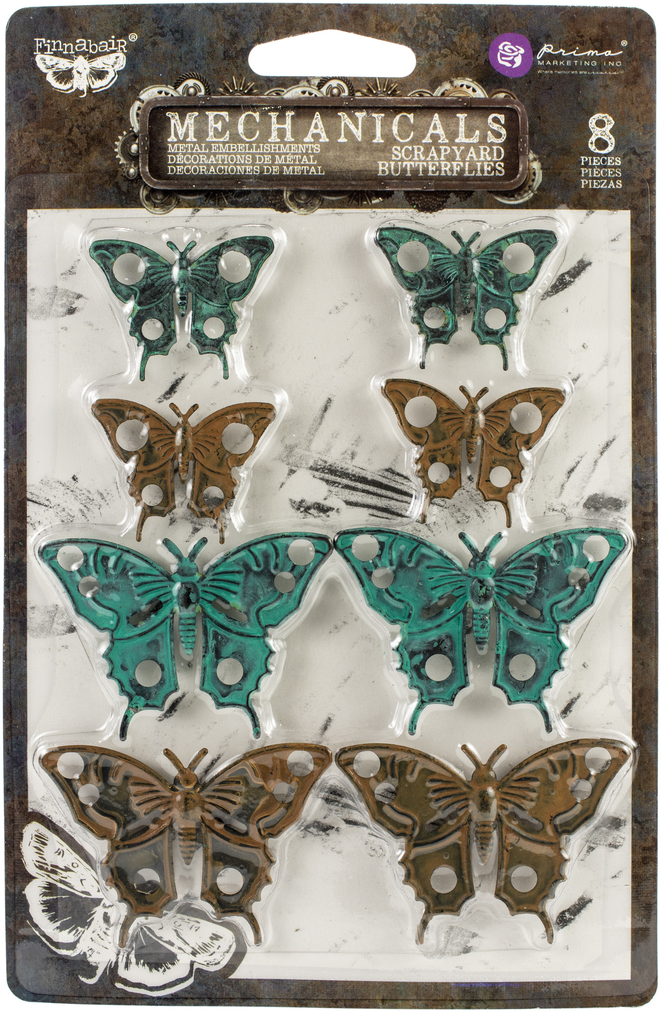 Finnabair Mechanicals Metal Embellishments-Scrapyard Butterflies 8/Pkg