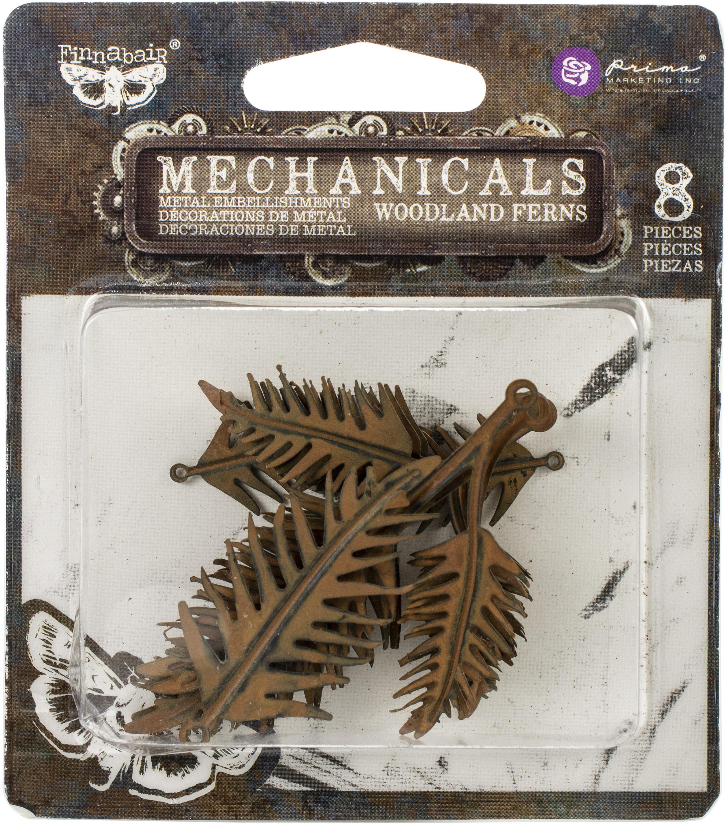 Finnabair Mechanicals Metal Embellishments-Woodland Fern 8/Pkg