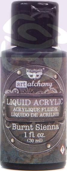 Finnabair Art Alchemy Liquid Acrylic Paint 1 Oz-Burnt Sienna