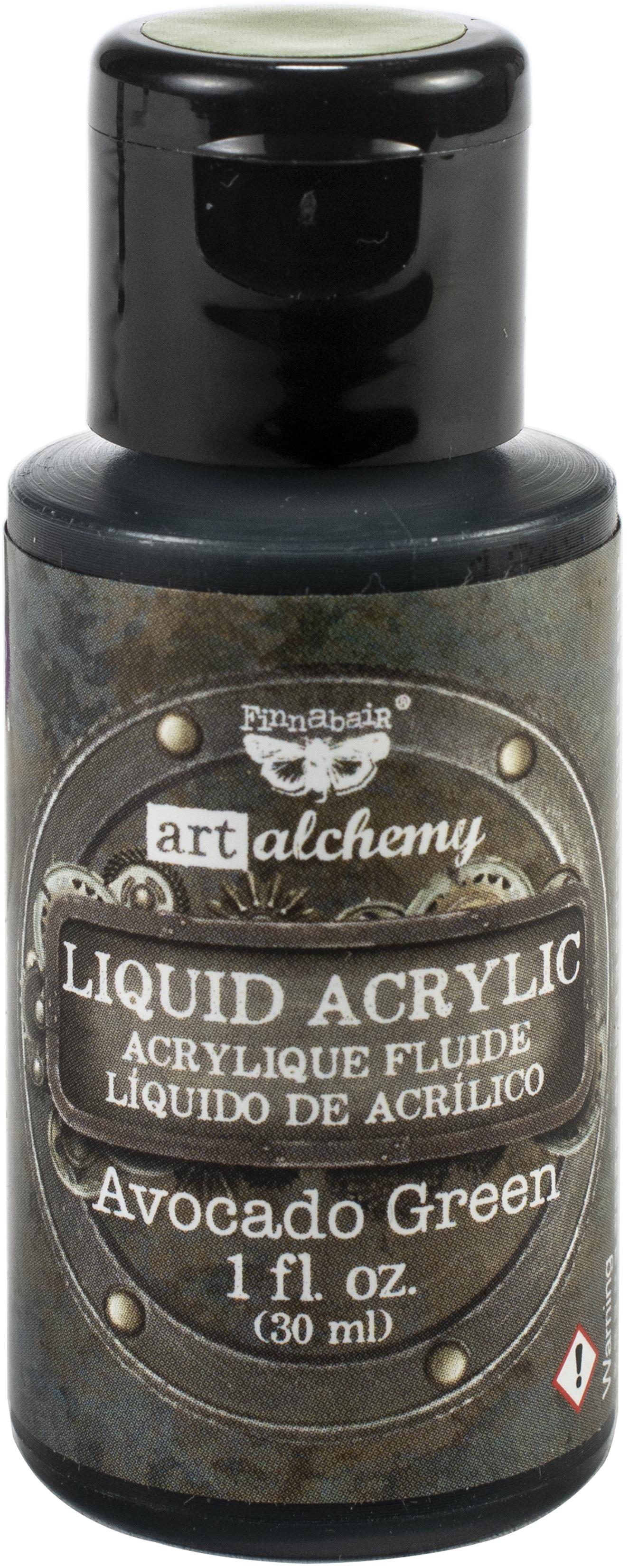 Finnabair Art Alchemy Liquid Acrylic Paint 1 Fluid Ounce-Avocado Green