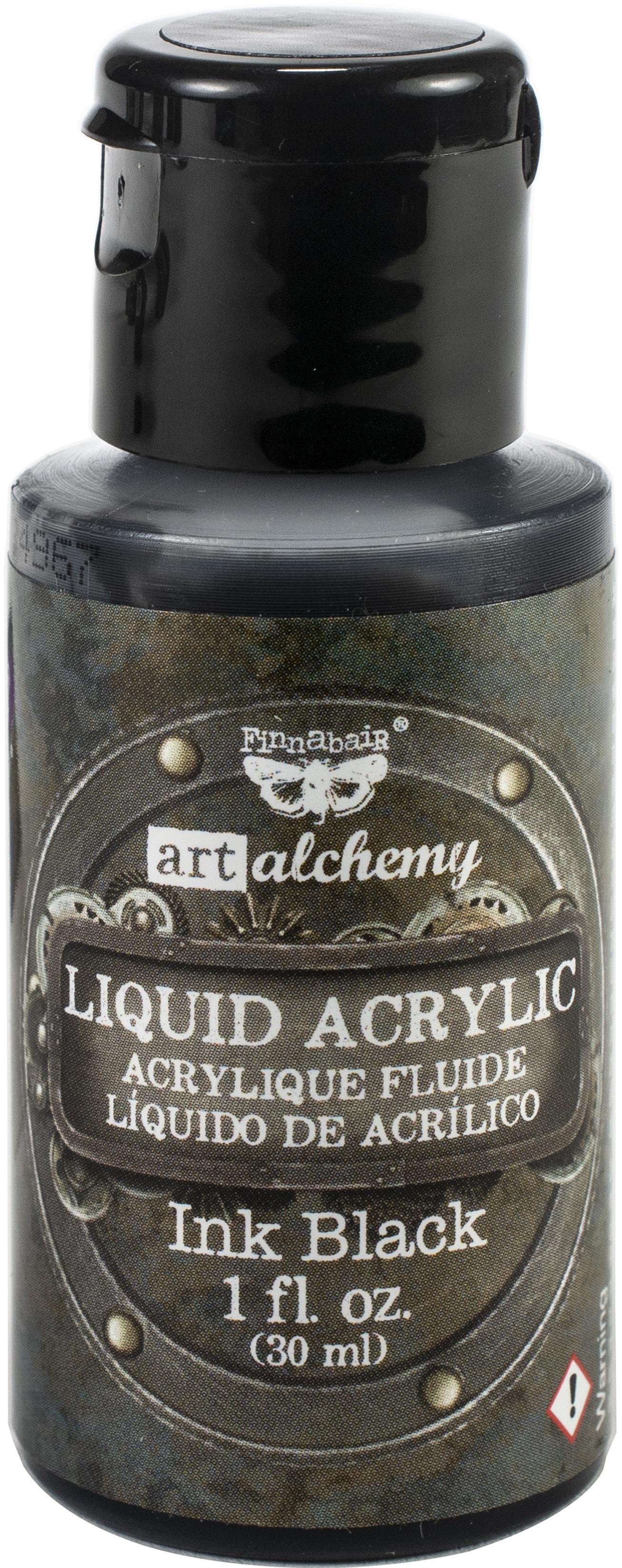 Finnabair Art Alchemy Liquid Acrylic Paint 1 Fluid Ounce-Ink Black
