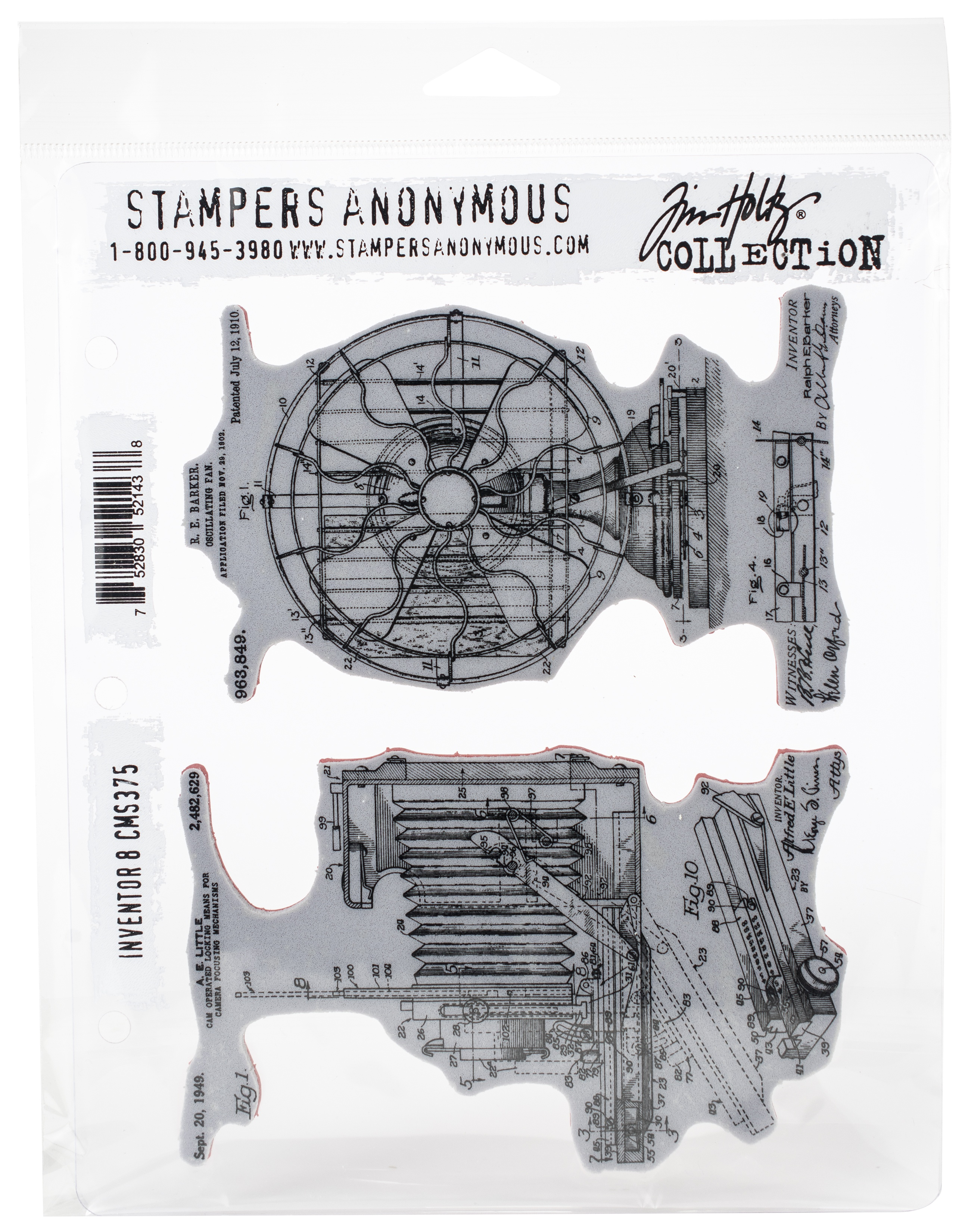 Tim Holtz Cling Stamps 7X8.5-Inventor #8
