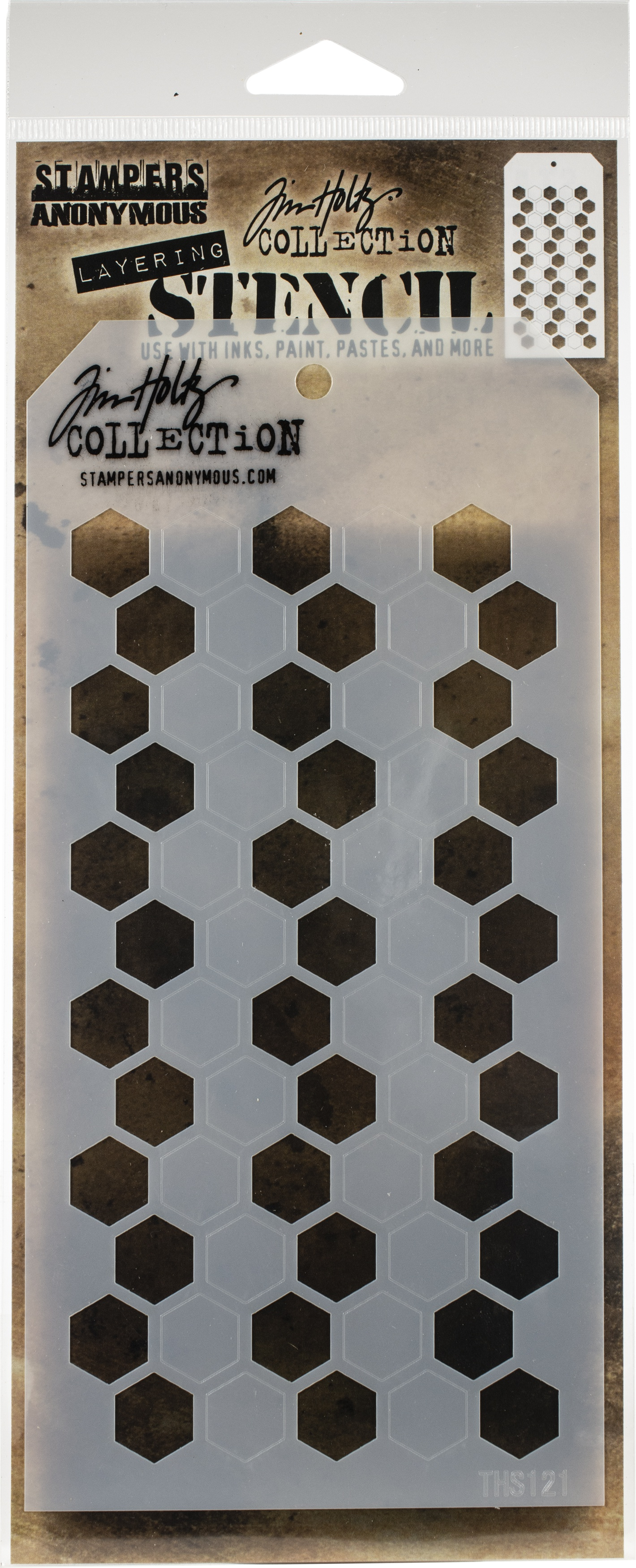 Tim Holtz Layered Stencil 4.125X8.5-Shifter Hex