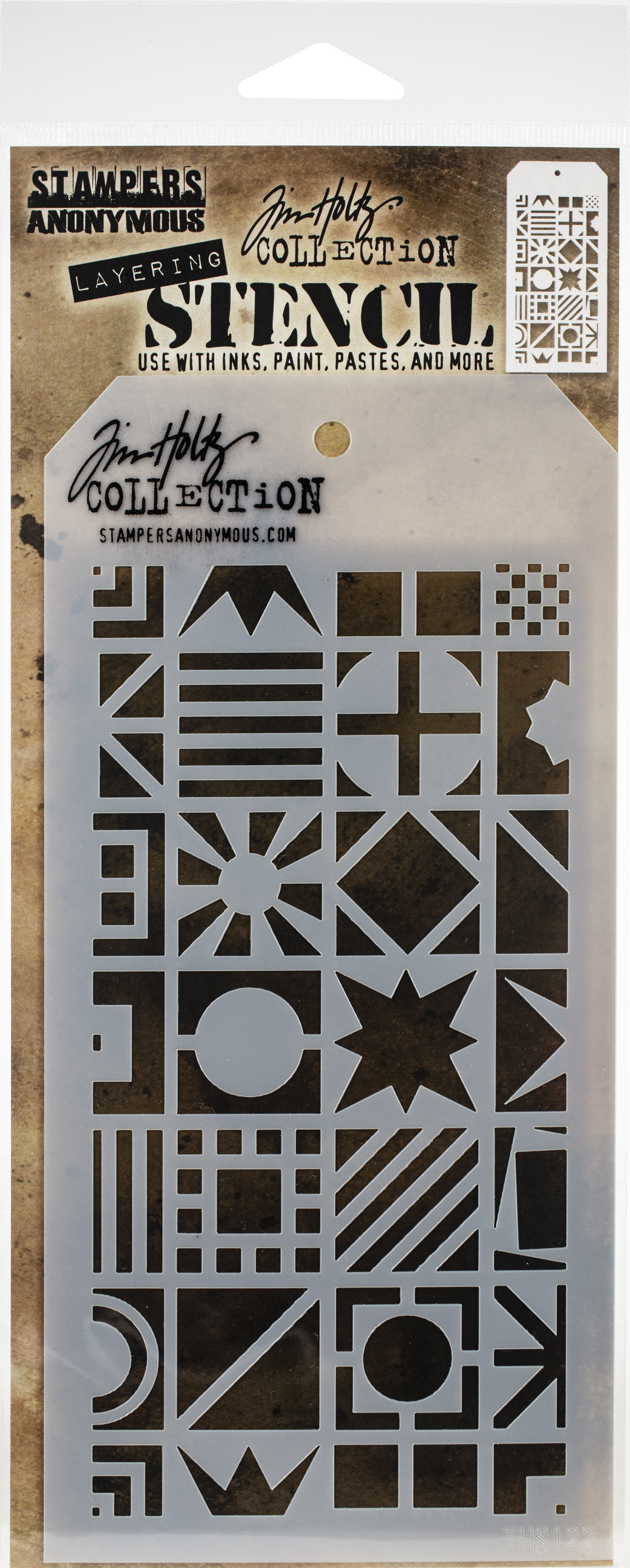 Tim Holtz Layered Stencil 4.125X8.5-Patchwork Cube