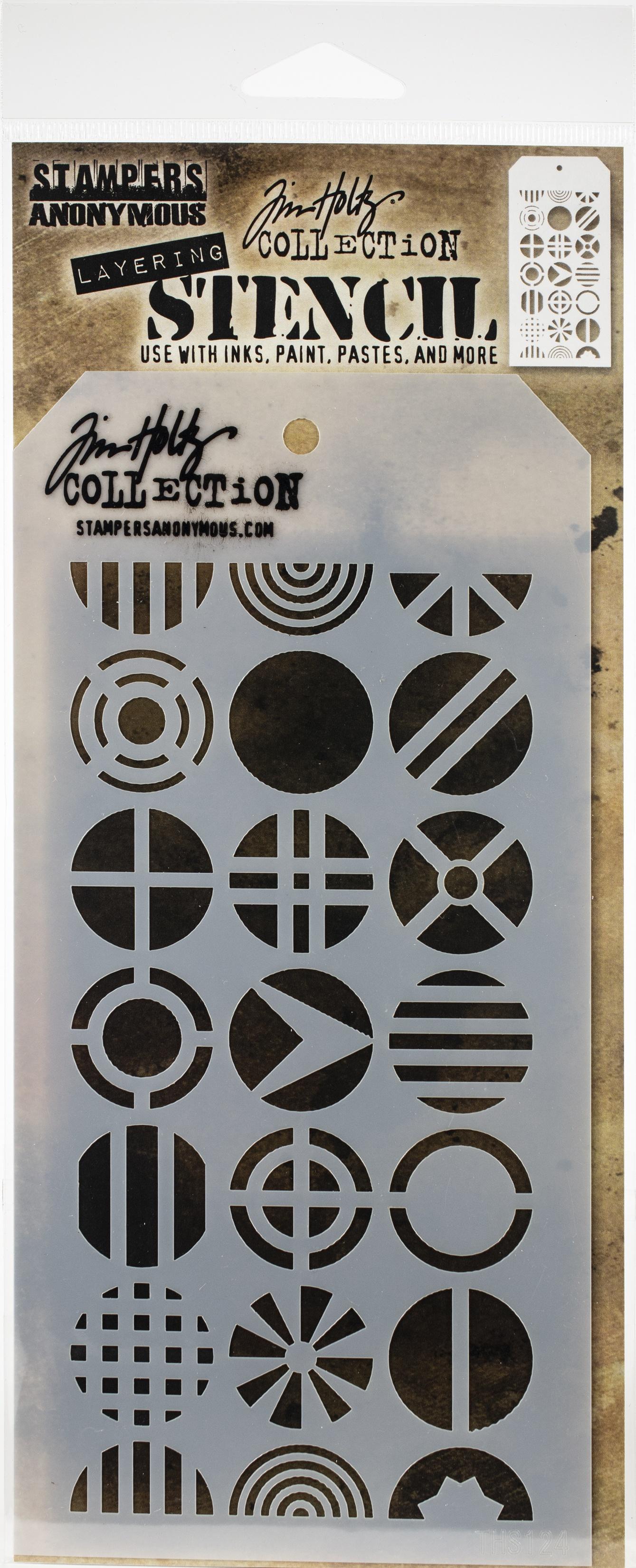 Tim Holtz Layered Stencil 4.125X8.5-Patchwork Circle